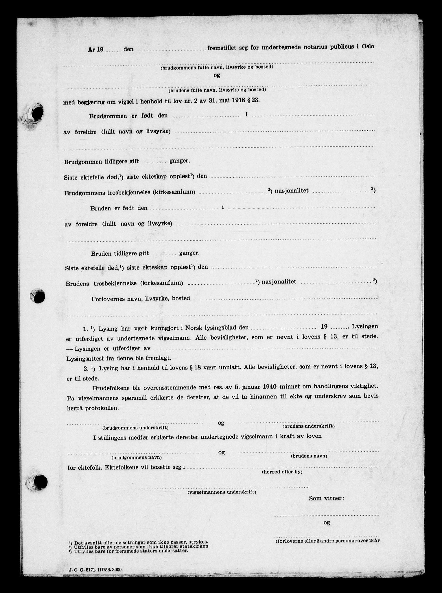 SAO, Oslo byfogd avd. I, L/Lb/Lbb/L0057: Notarialprotokoll, rekke II: Vigsler, 1946, s. upaginert