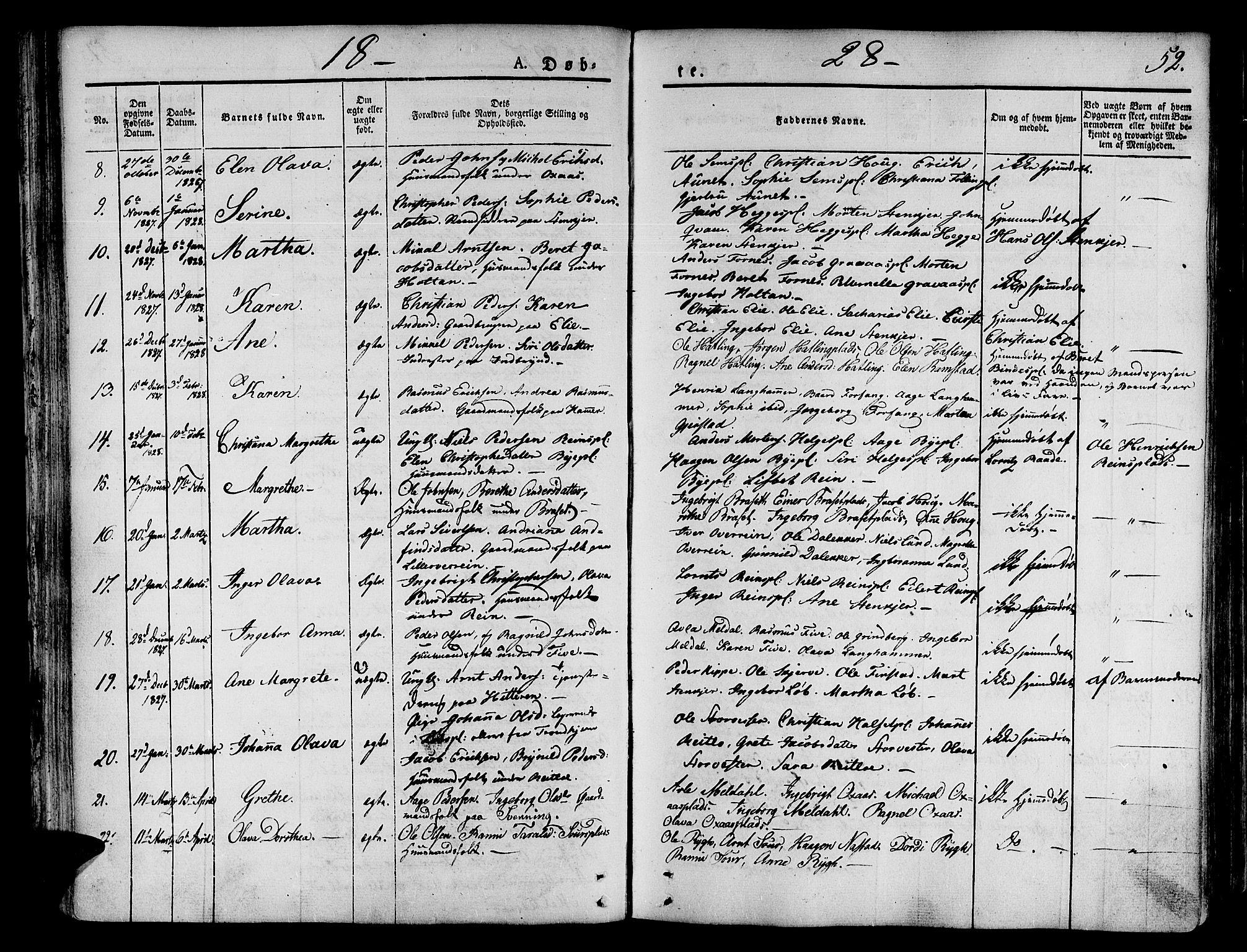 SAT, Ministerialprotokoller, klokkerbøker og fødselsregistre - Nord-Trøndelag, 746/L0445: Ministerialbok nr. 746A04, 1826-1846, s. 52