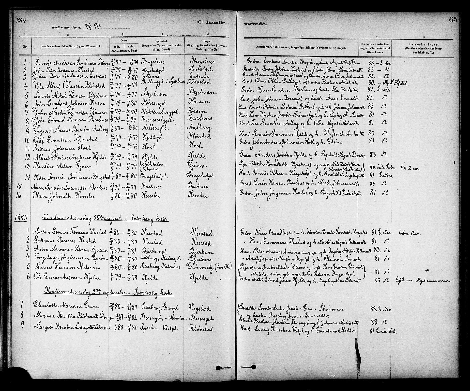 SAT, Ministerialprotokoller, klokkerbøker og fødselsregistre - Nord-Trøndelag, 732/L0318: Klokkerbok nr. 732C02, 1881-1911, s. 65