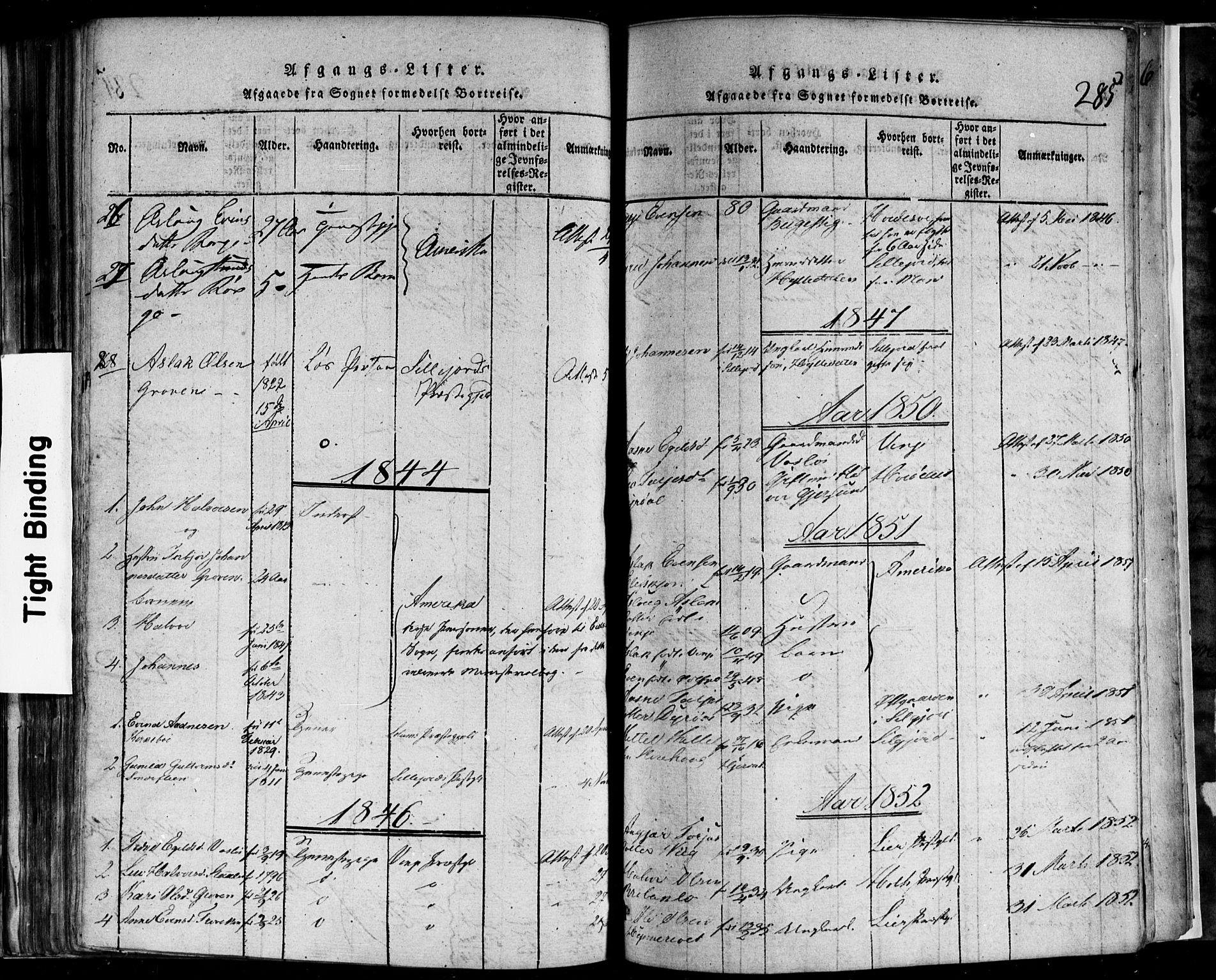 SAKO, Rauland kirkebøker, F/Fa/L0002: Ministerialbok nr. 2, 1815-1860, s. 285