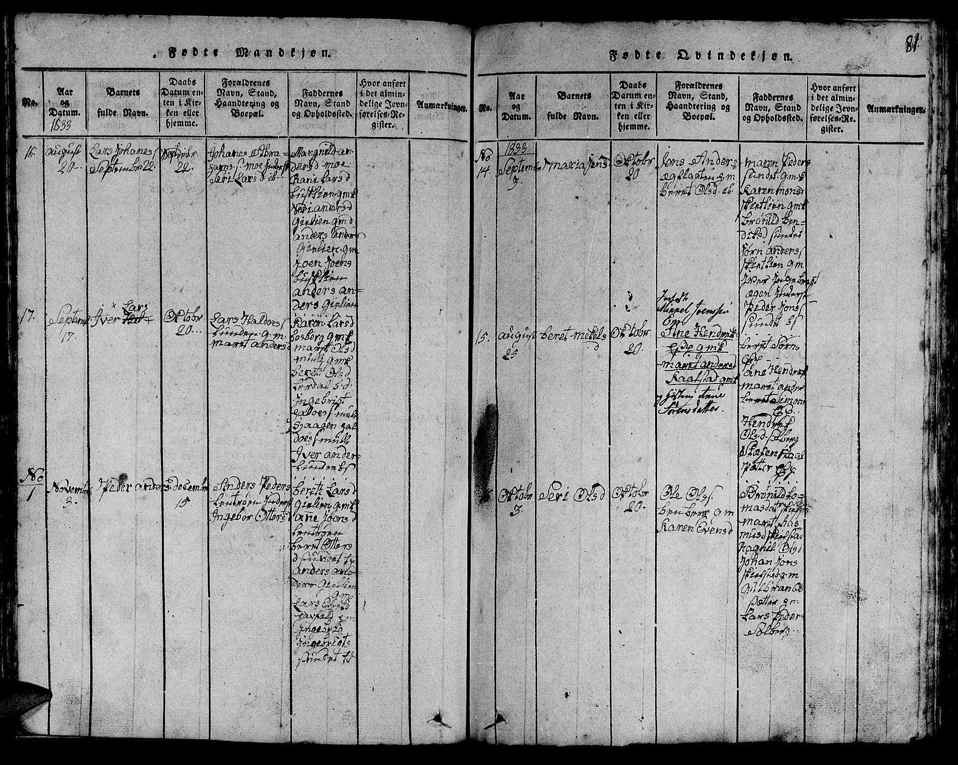 SAT, Ministerialprotokoller, klokkerbøker og fødselsregistre - Sør-Trøndelag, 613/L0393: Klokkerbok nr. 613C01, 1816-1886, s. 81