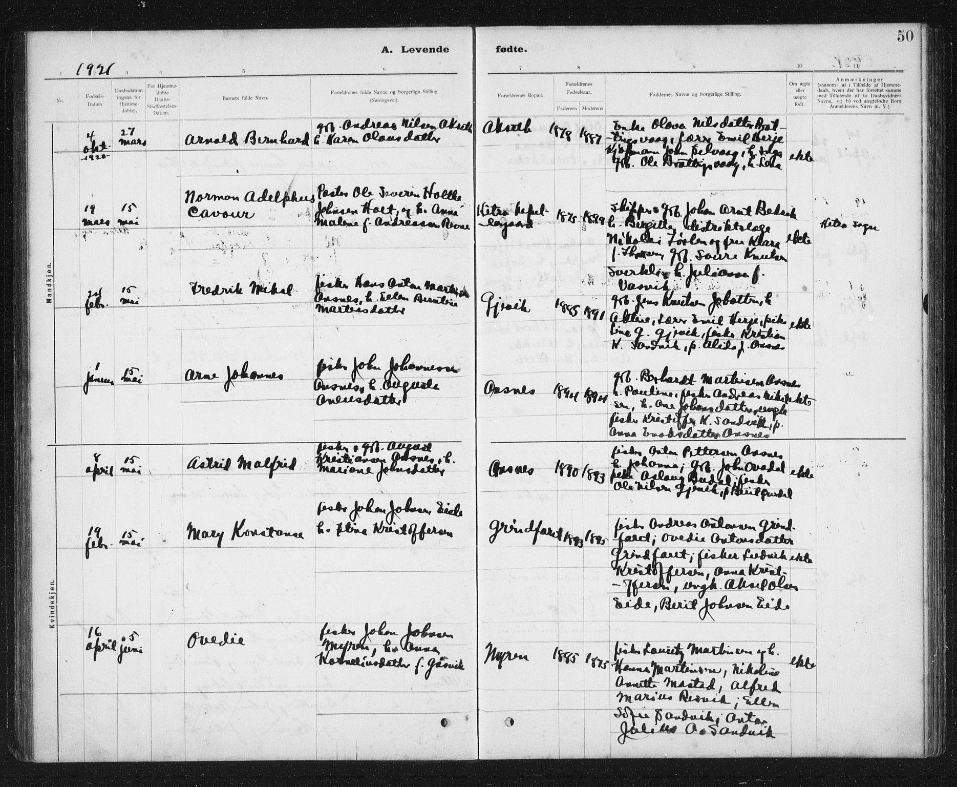 SAT, Ministerialprotokoller, klokkerbøker og fødselsregistre - Sør-Trøndelag, 637/L0563: Klokkerbok nr. 637C04, 1899-1940, s. 50