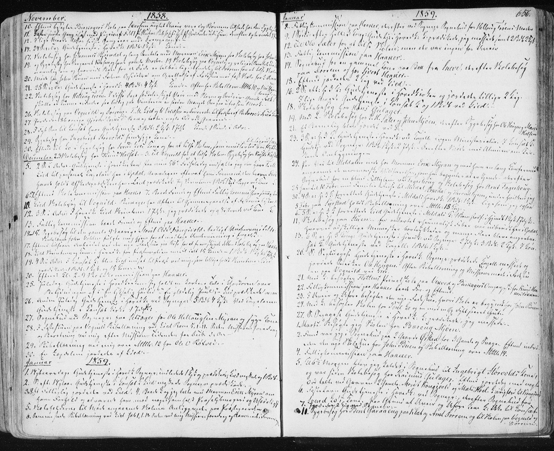 SAT, Ministerialprotokoller, klokkerbøker og fødselsregistre - Sør-Trøndelag, 678/L0899: Ministerialbok nr. 678A08, 1848-1872, s. 656