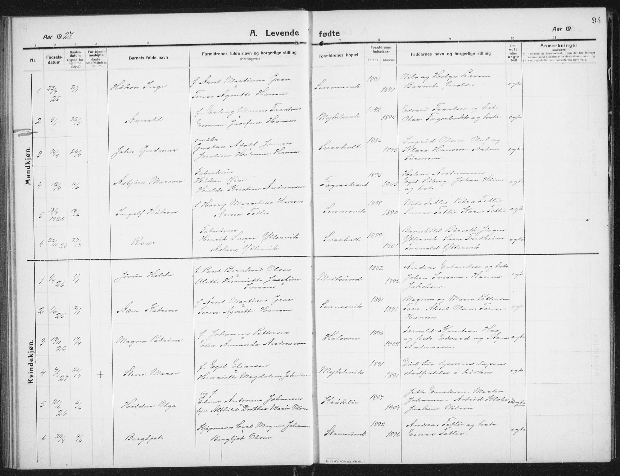 SAT, Ministerialprotokoller, klokkerbøker og fødselsregistre - Nordland, 882/L1183: Klokkerbok nr. 882C01, 1911-1938, s. 94