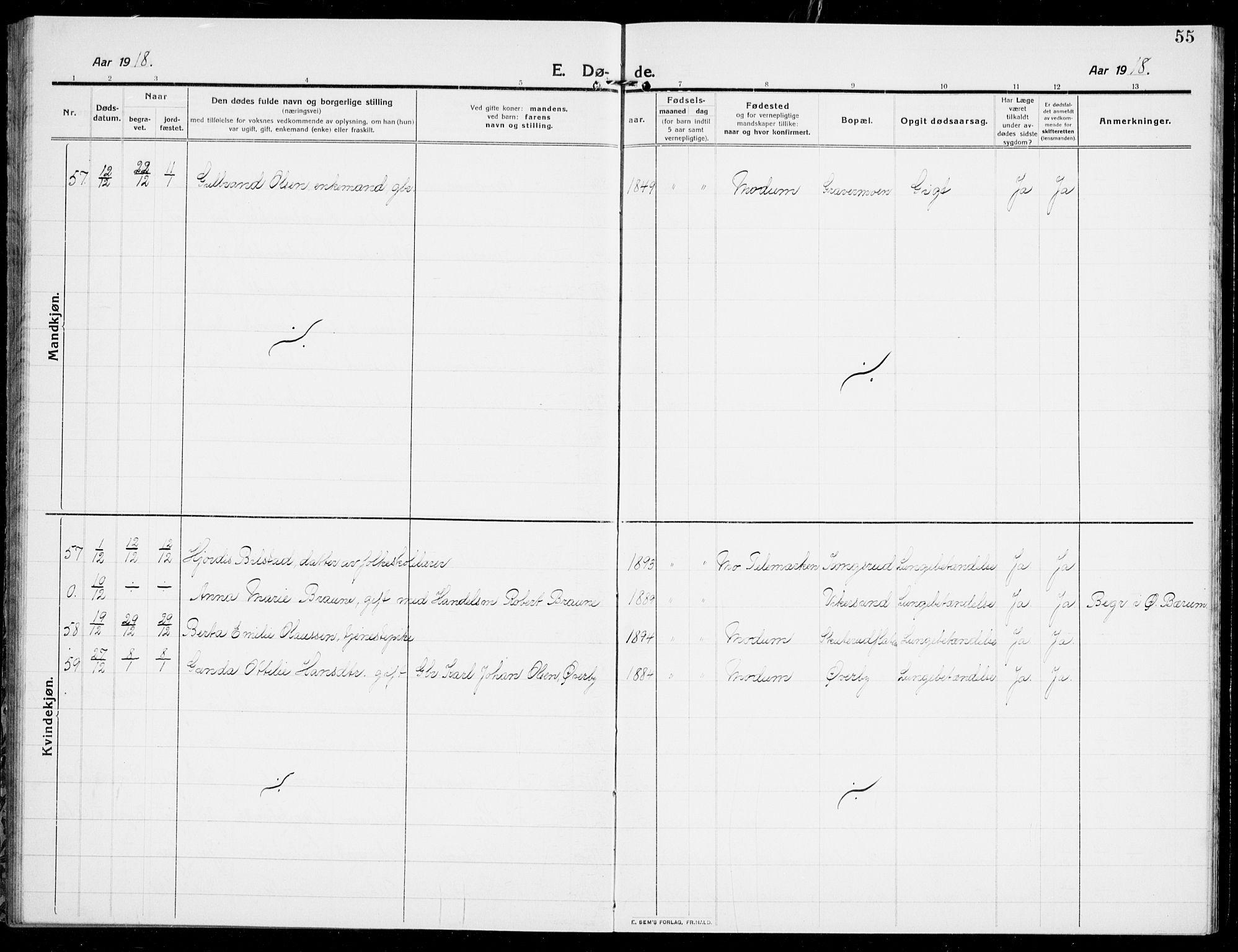 SAKO, Modum kirkebøker, G/Ga/L0011: Klokkerbok nr. I 11, 1910-1925, s. 55