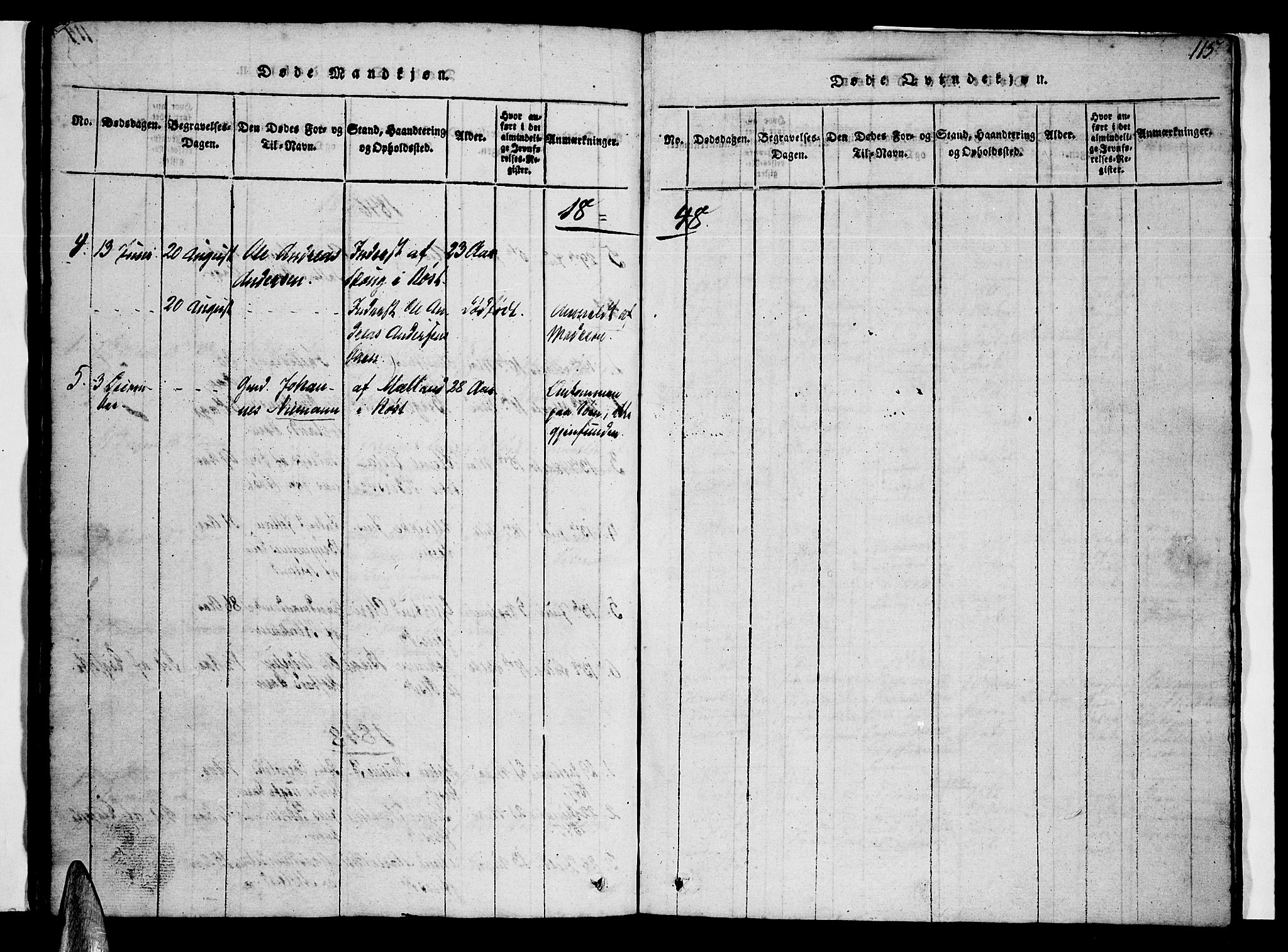 SAT, Ministerialprotokoller, klokkerbøker og fødselsregistre - Nordland, 807/L0120: Ministerialbok nr. 807A03, 1821-1848, s. 115