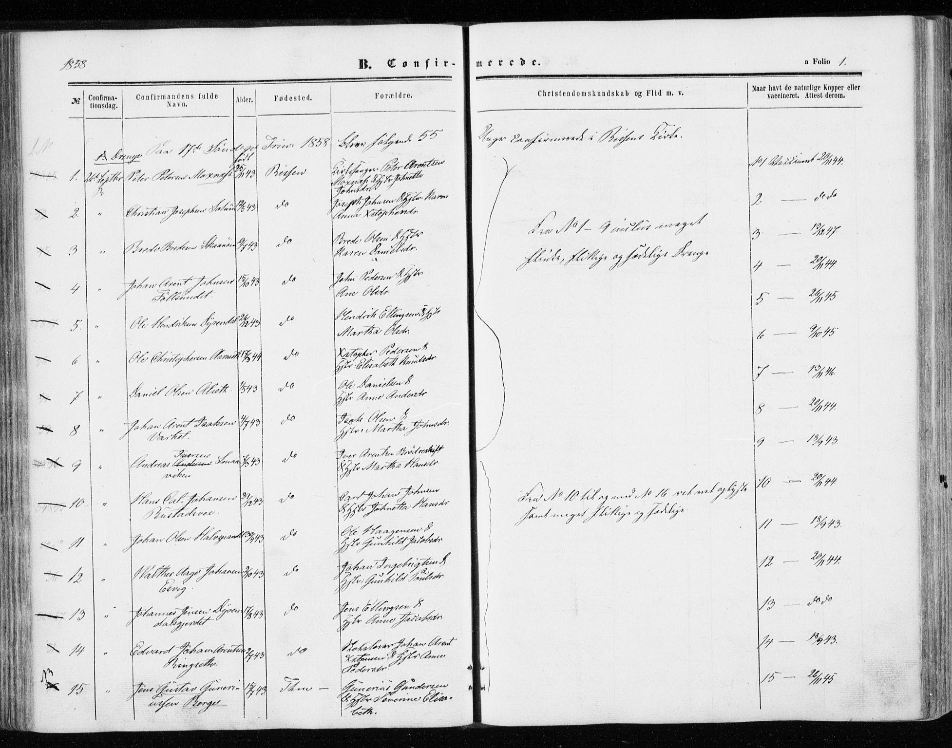 SAT, Ministerialprotokoller, klokkerbøker og fødselsregistre - Sør-Trøndelag, 646/L0612: Ministerialbok nr. 646A10, 1858-1869, s. 1