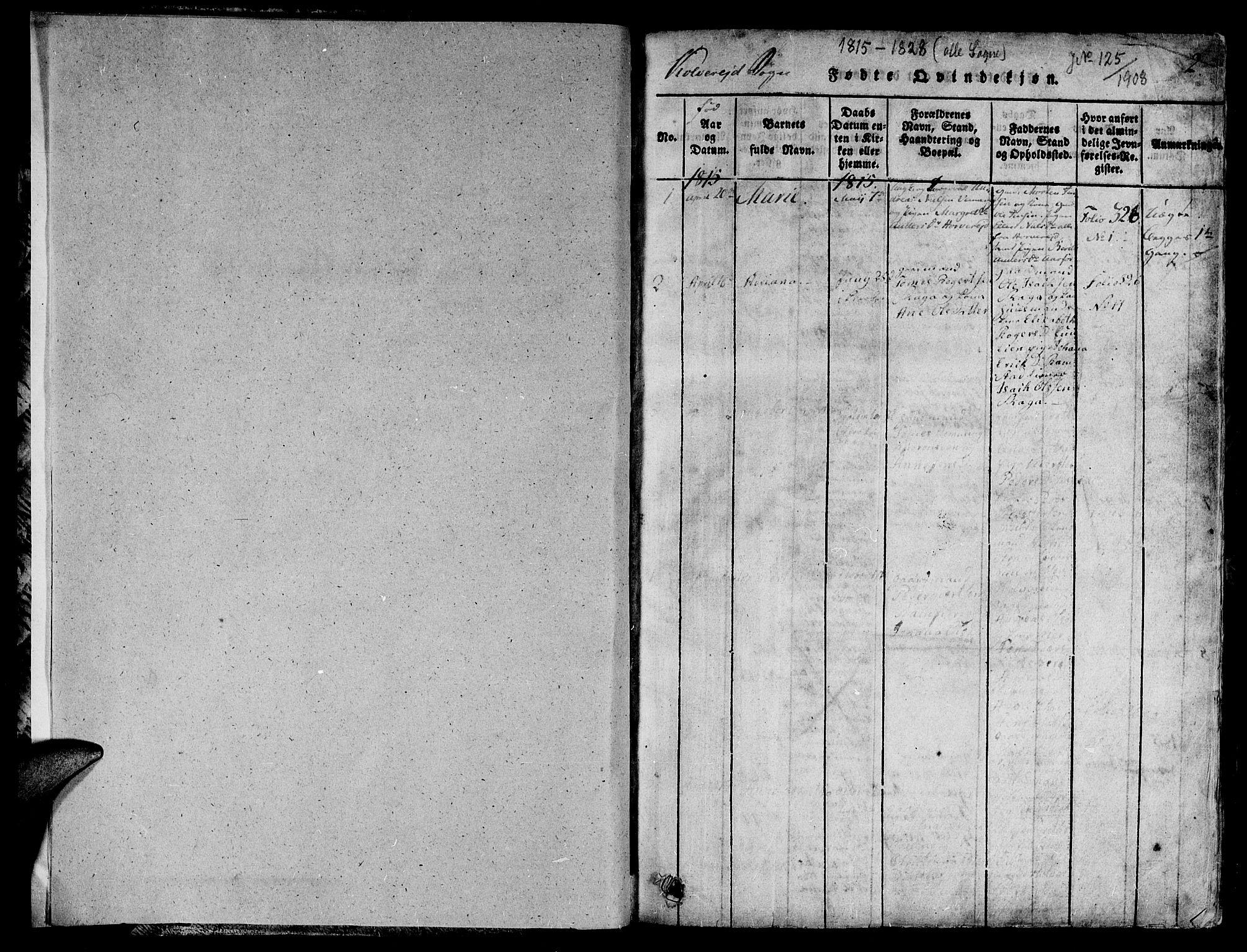 SAT, Ministerialprotokoller, klokkerbøker og fødselsregistre - Nord-Trøndelag, 780/L0648: Klokkerbok nr. 780C01 /1, 1815-1870, s. 2