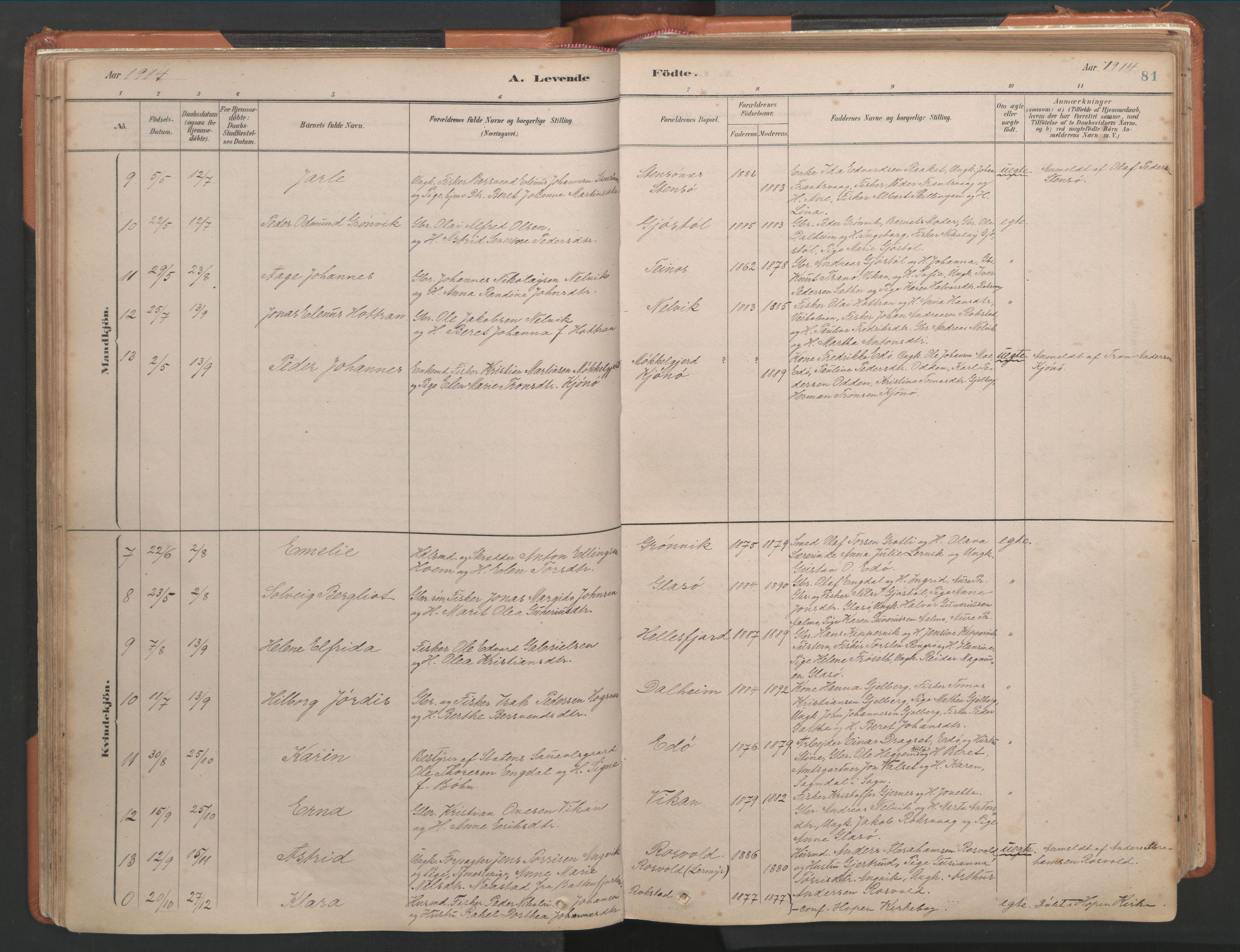 SAT, Ministerialprotokoller, klokkerbøker og fødselsregistre - Møre og Romsdal, 581/L0941: Ministerialbok nr. 581A09, 1880-1919, s. 81