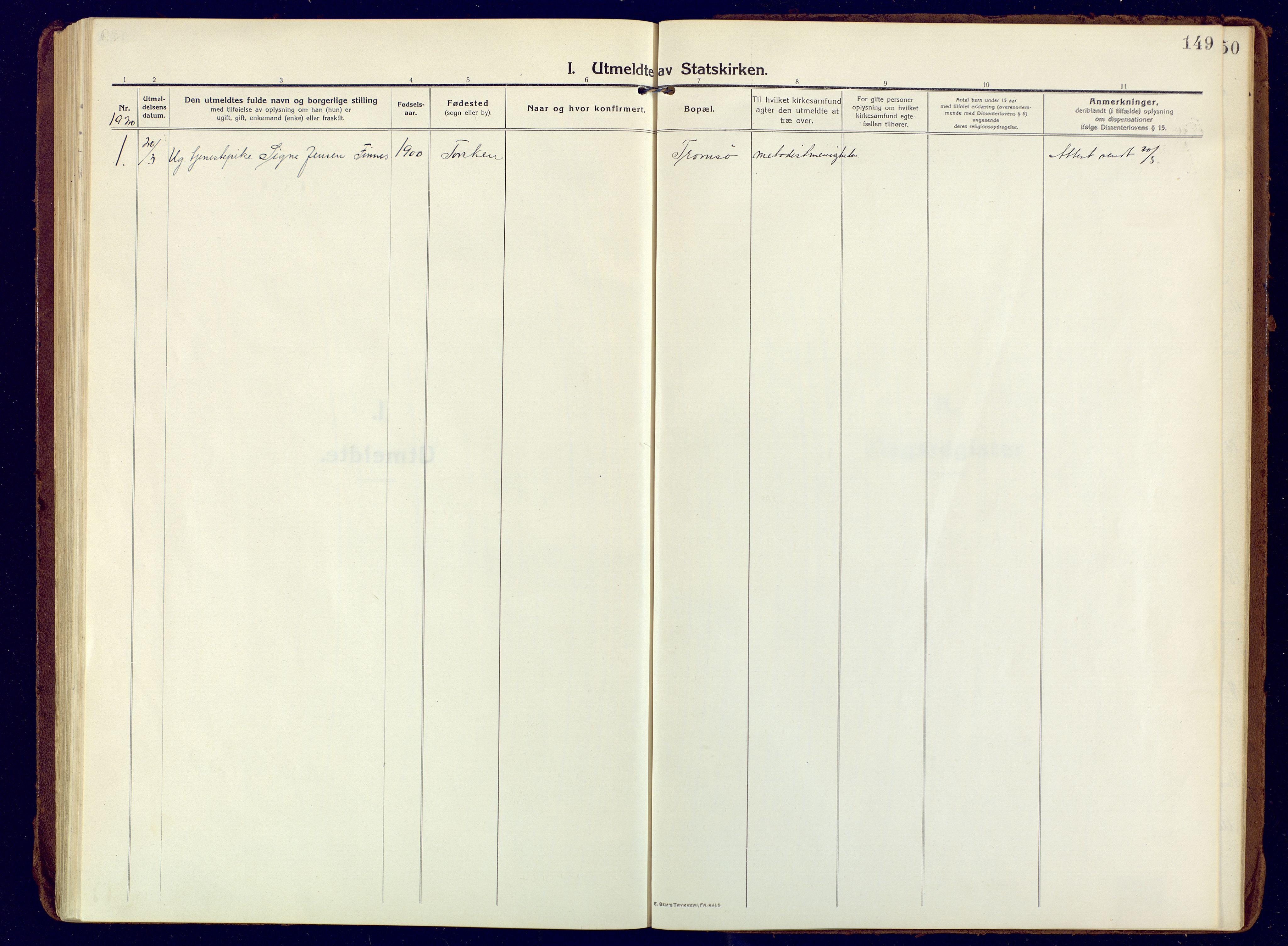 SATØ, Mefjord/Berg sokneprestkontor, G/Ga/Gaa: Ministerialbok nr. 10, 1916-1928, s. 149