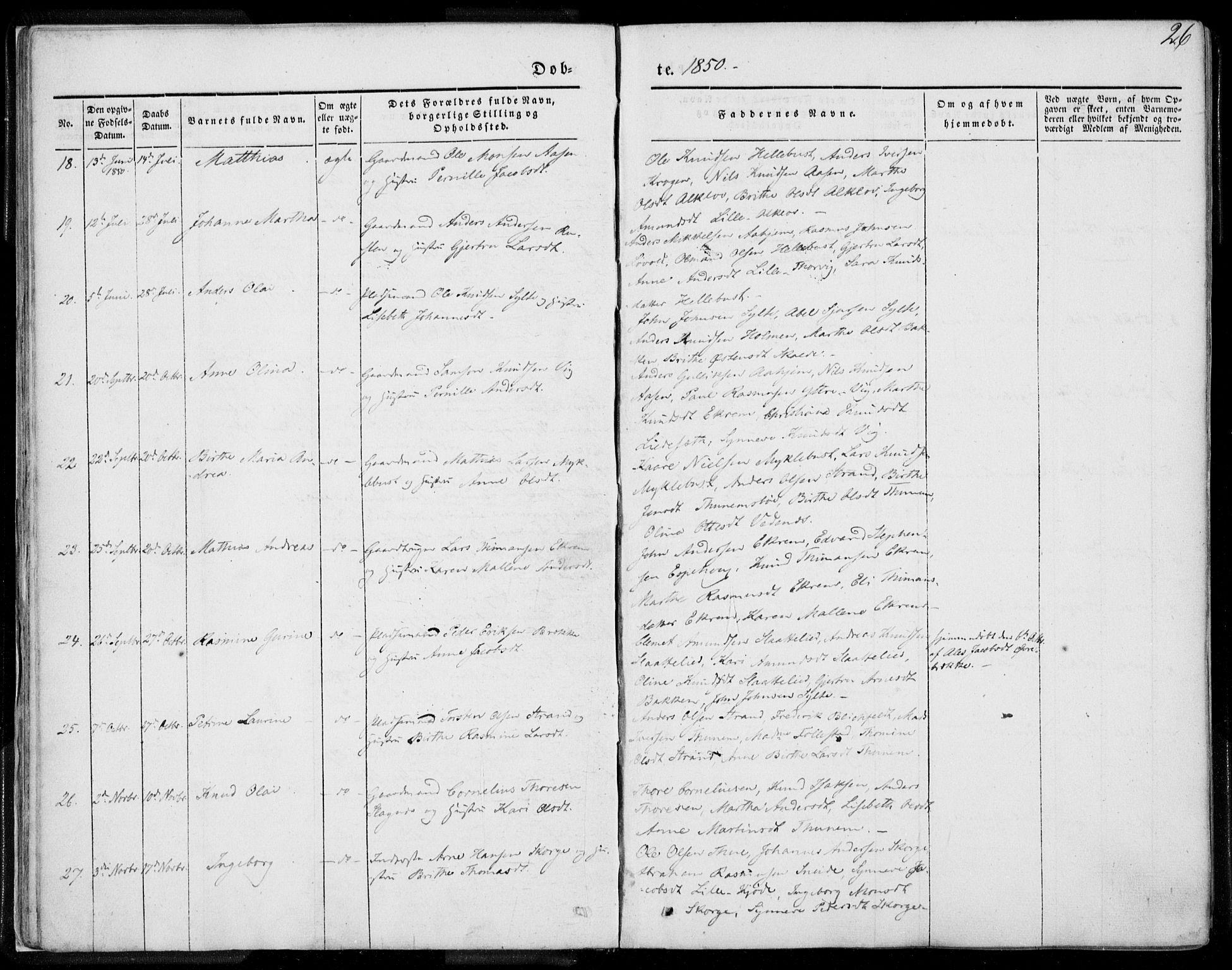 SAT, Ministerialprotokoller, klokkerbøker og fødselsregistre - Møre og Romsdal, 501/L0006: Ministerialbok nr. 501A06, 1844-1868, s. 26