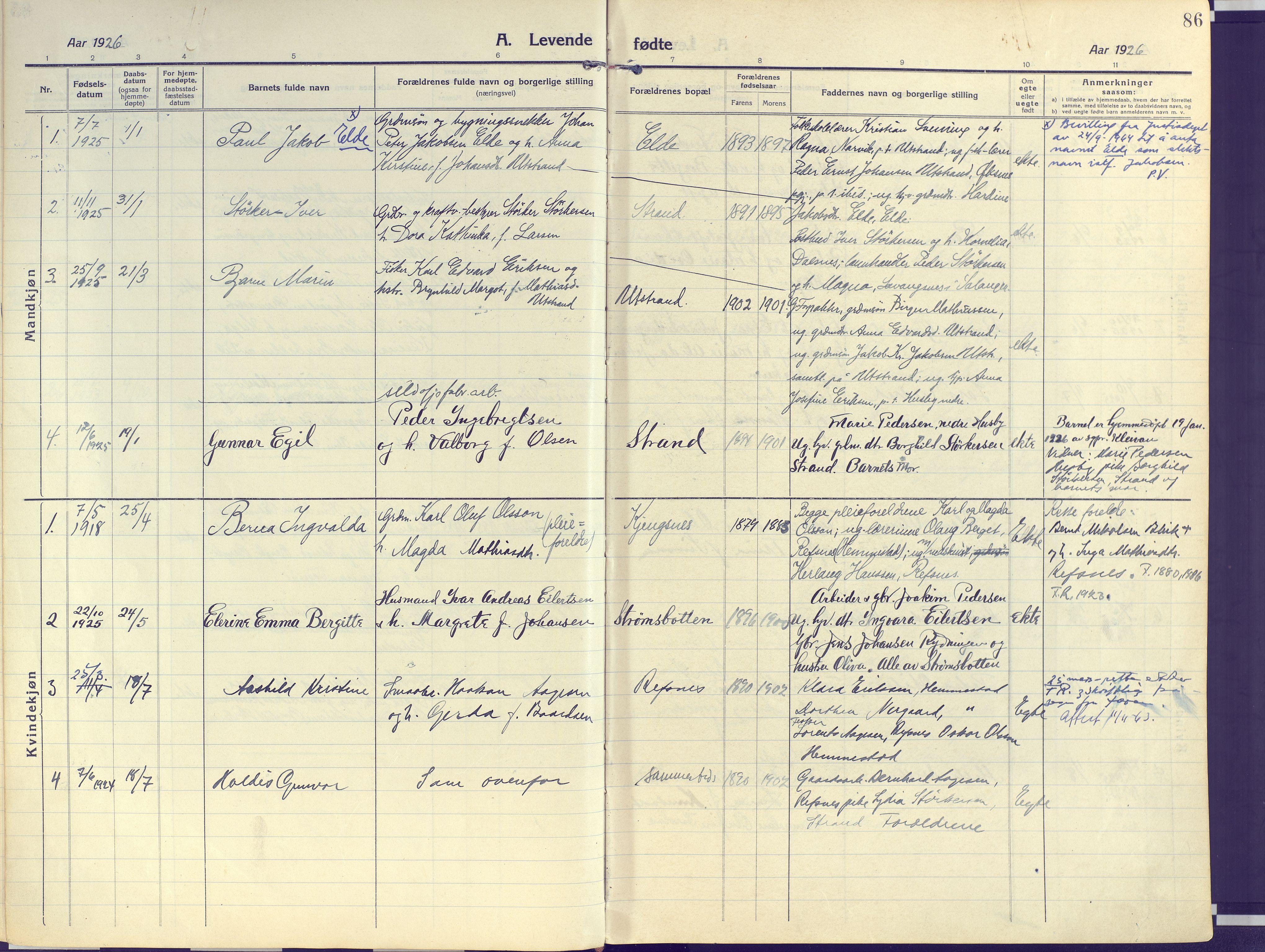 SATØ, Kvæfjord sokneprestkontor, G/Ga/Gaa/L0007kirke: Ministerialbok nr. 7, 1915-1931, s. 86