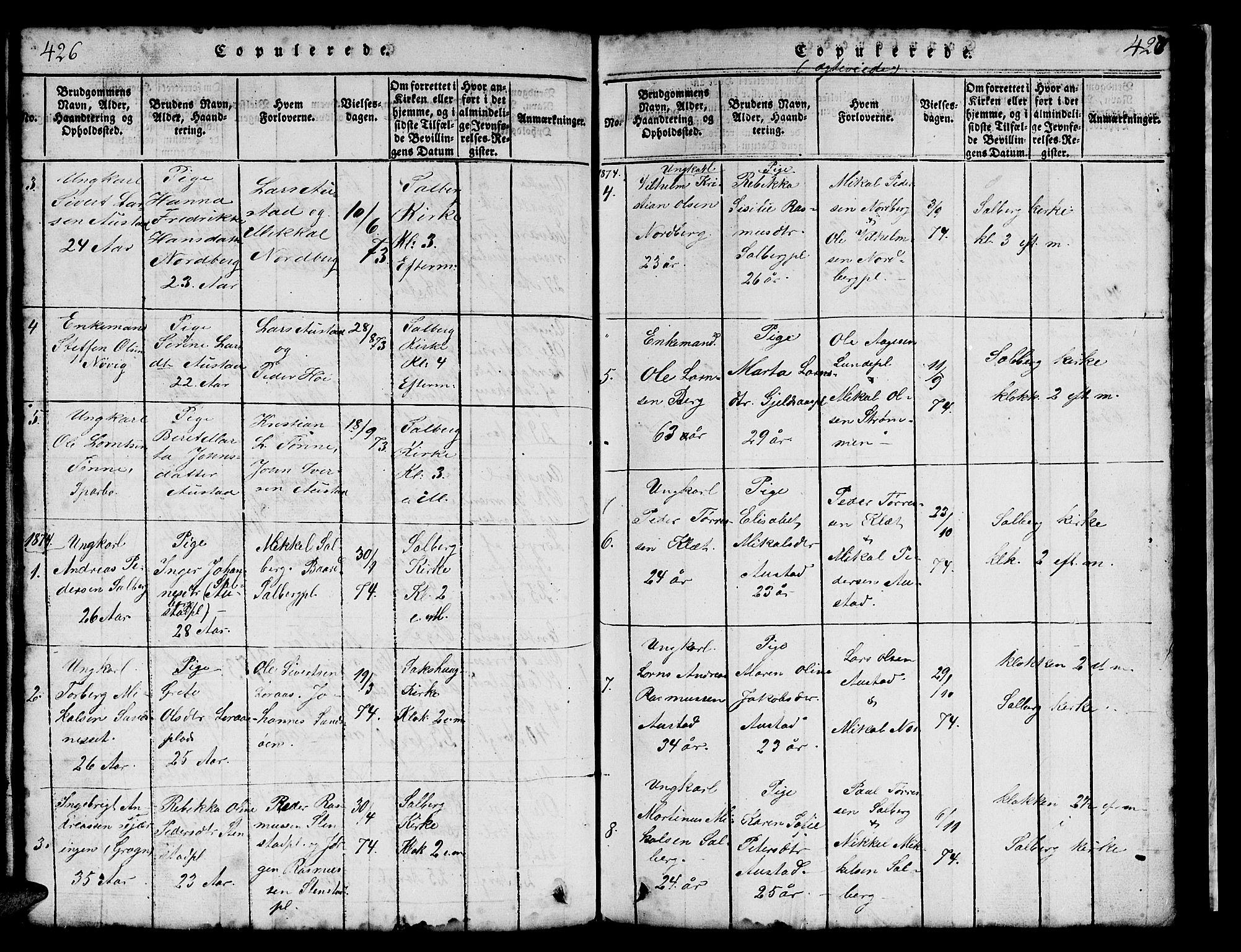 SAT, Ministerialprotokoller, klokkerbøker og fødselsregistre - Nord-Trøndelag, 731/L0310: Klokkerbok nr. 731C01, 1816-1874, s. 426-427