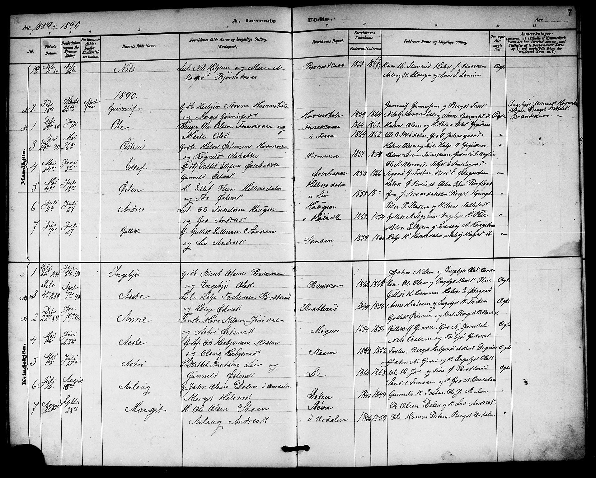 SAKO, Gransherad kirkebøker, G/Gb/L0003: Klokkerbok nr. II 3, 1887-1921, s. 7