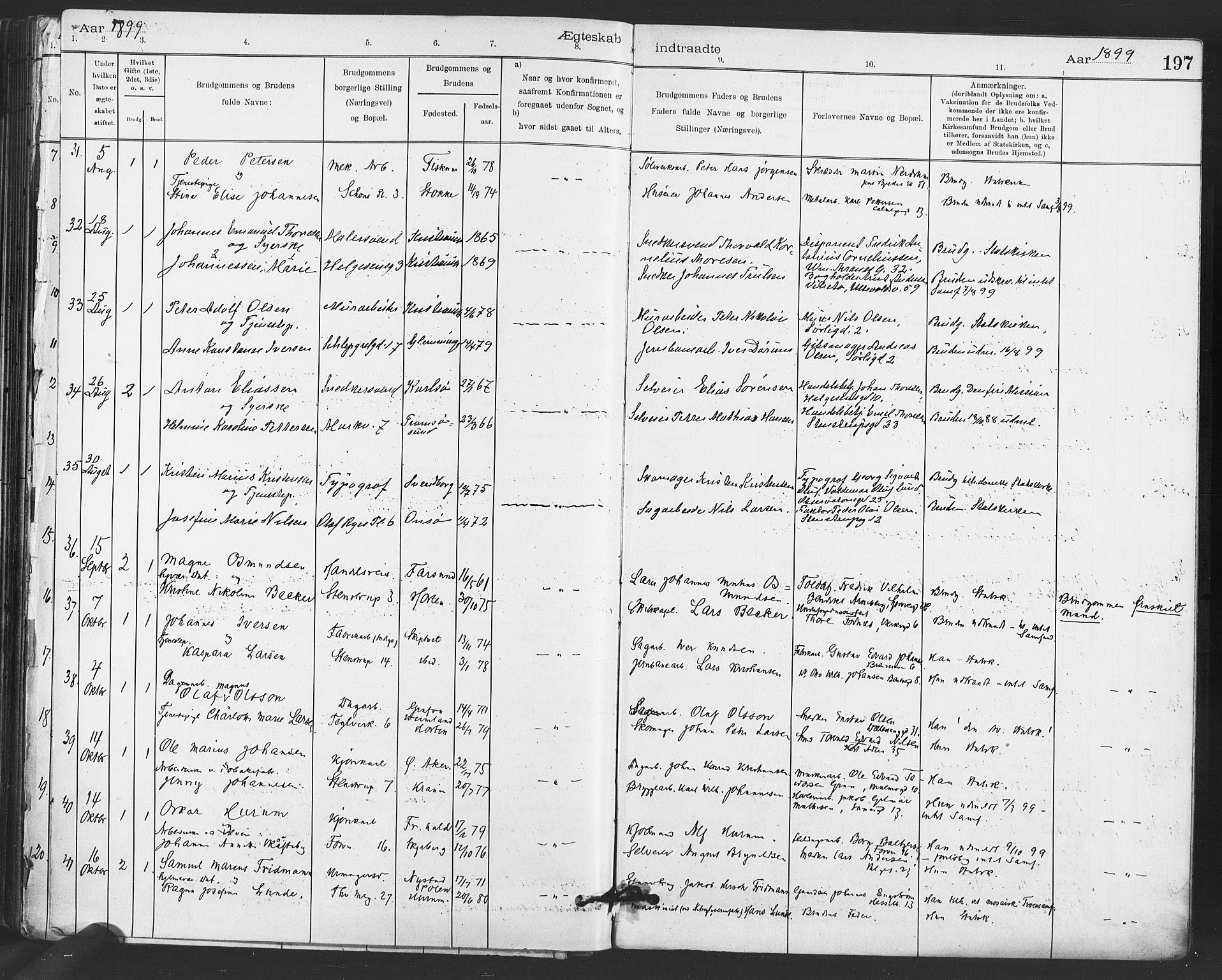 SAO, Paulus prestekontor Kirkebøker, F/Fa/L0012: Ministerialbok nr. 12, 1897-1908, s. 197