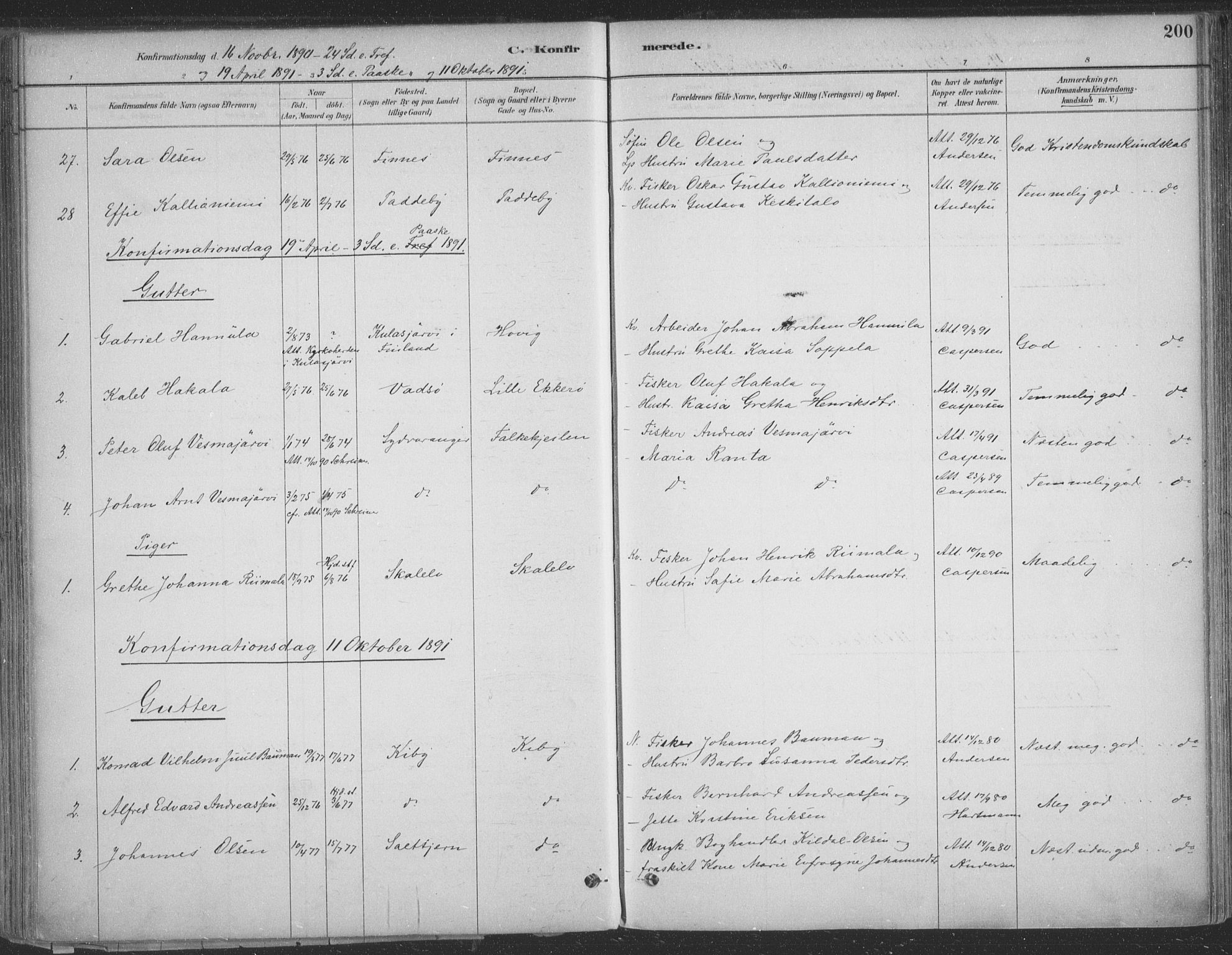 SATØ, Vadsø sokneprestkontor, H/Ha/L0009kirke: Ministerialbok nr. 9, 1881-1917, s. 200