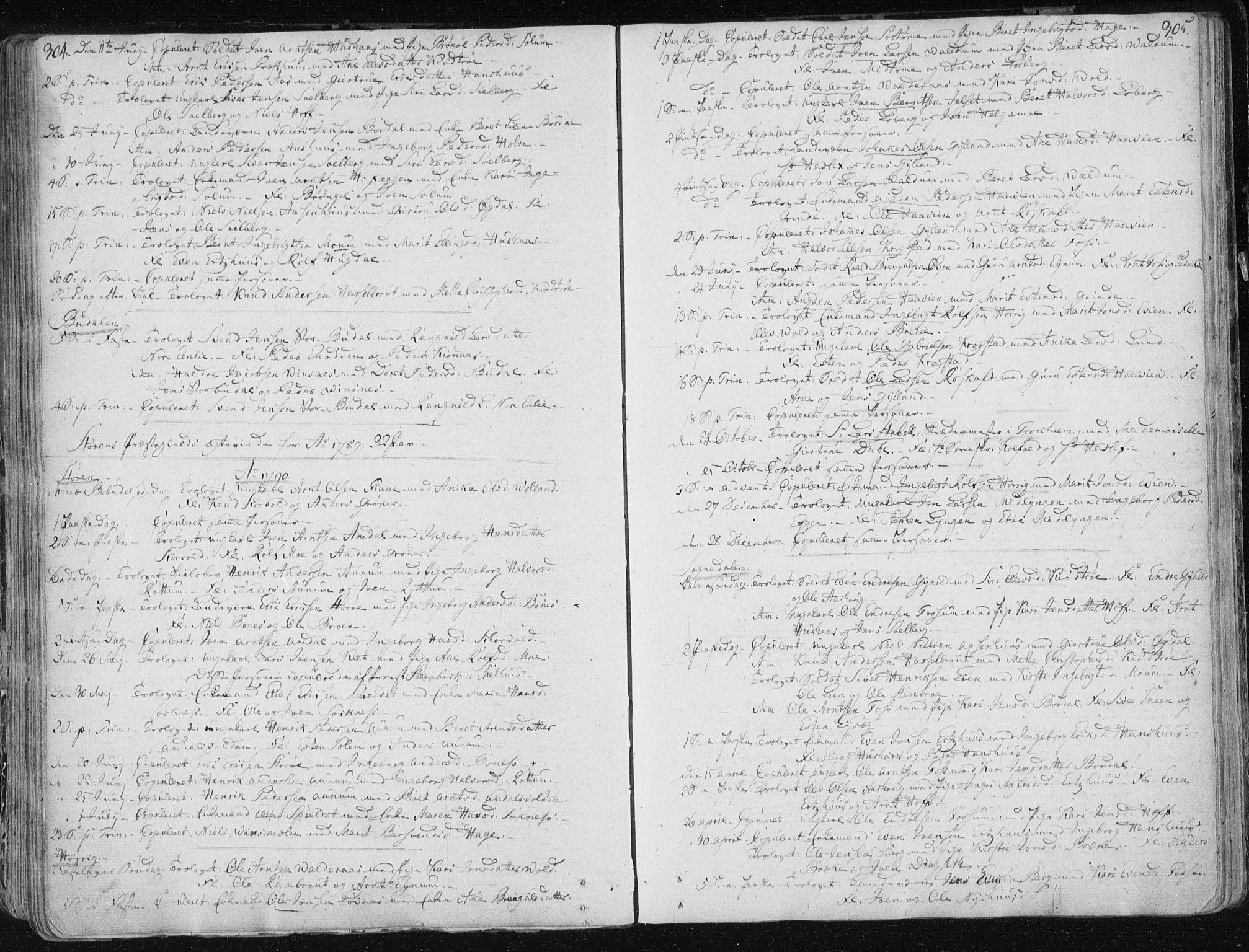 SAT, Ministerialprotokoller, klokkerbøker og fødselsregistre - Sør-Trøndelag, 687/L0992: Ministerialbok nr. 687A03 /1, 1788-1815, s. 304-305