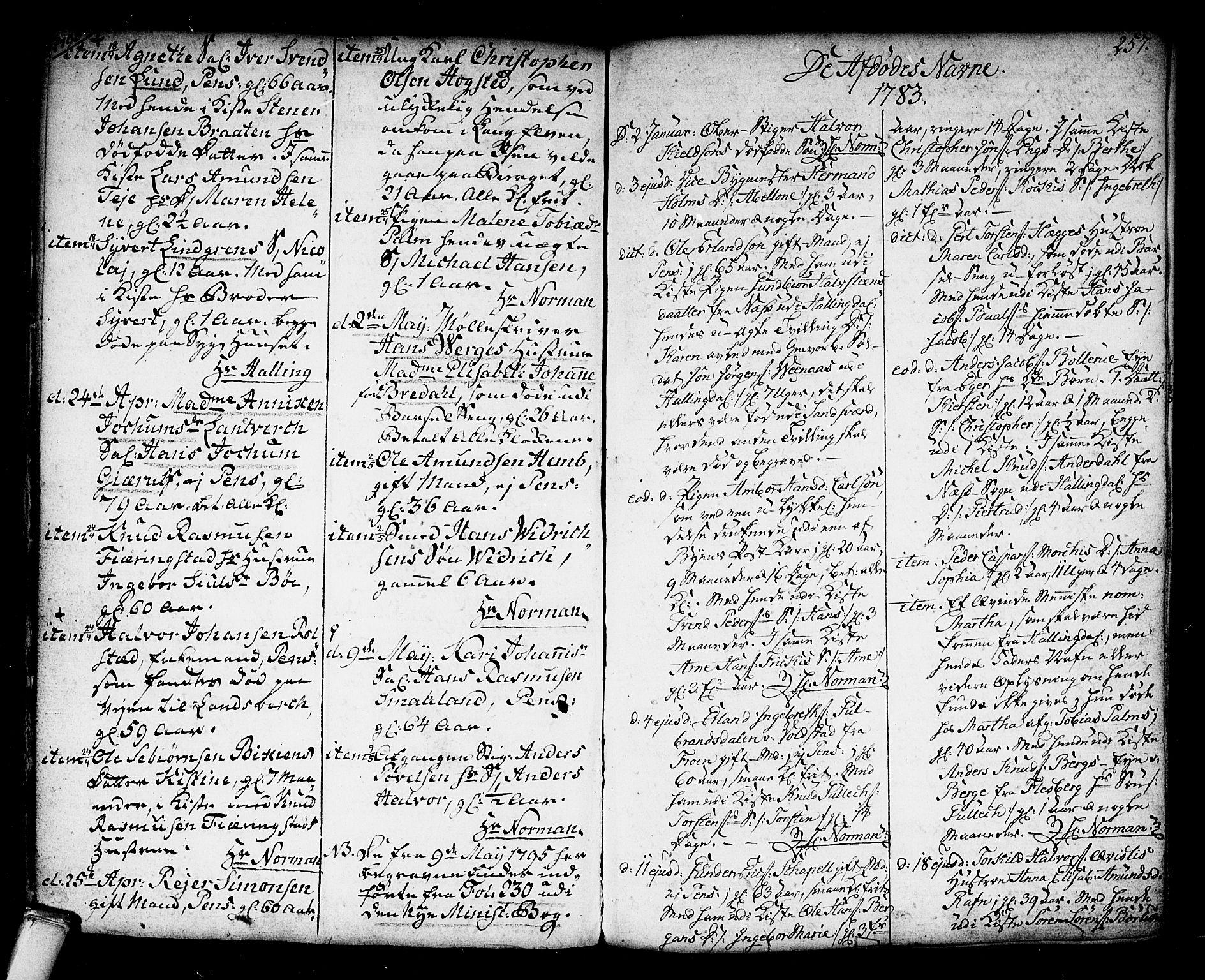 SAKO, Kongsberg kirkebøker, F/Fa/L0006: Ministerialbok nr. I 6, 1783-1797, s. 257