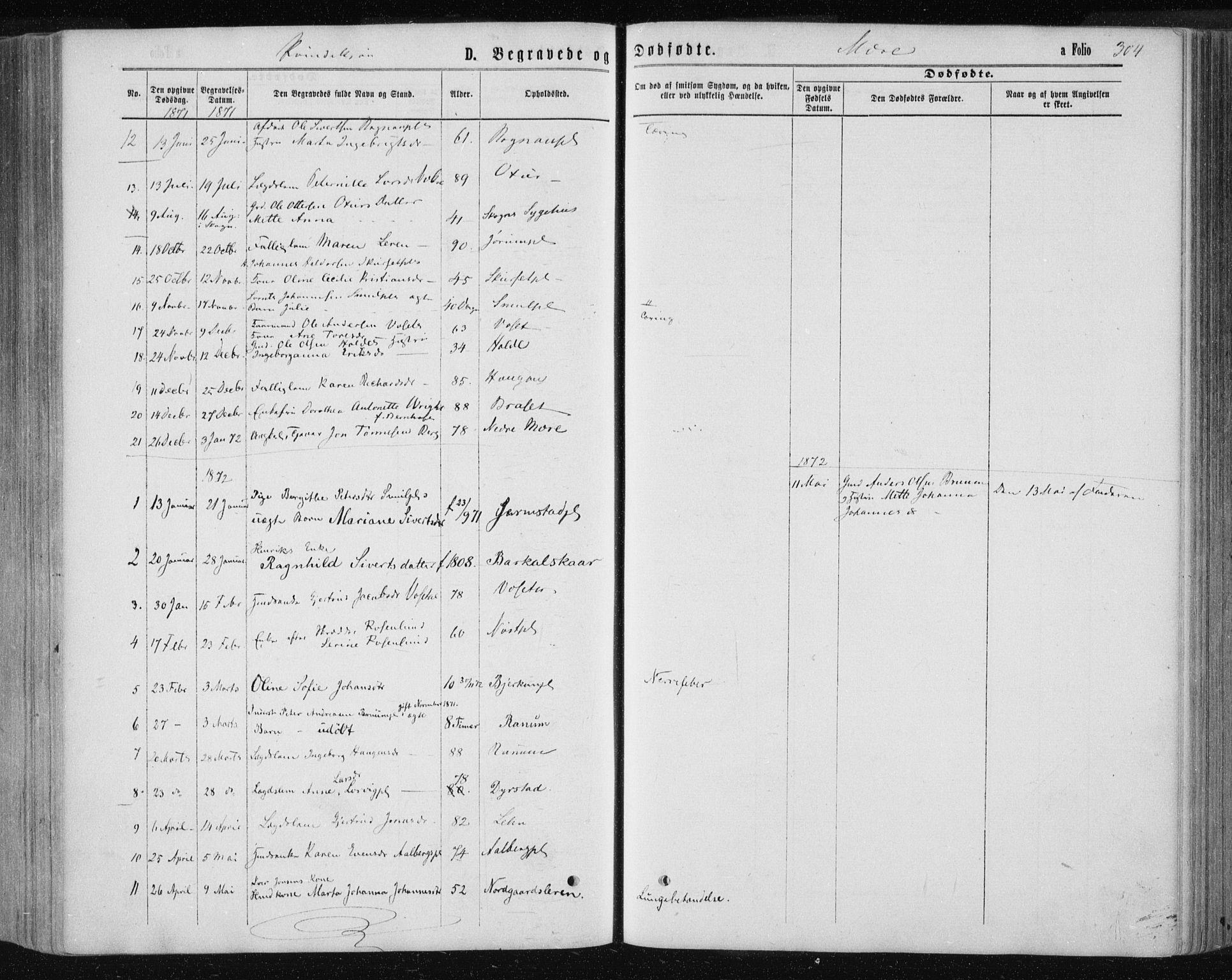 SAT, Ministerialprotokoller, klokkerbøker og fødselsregistre - Nord-Trøndelag, 735/L0345: Ministerialbok nr. 735A08 /1, 1863-1872, s. 304
