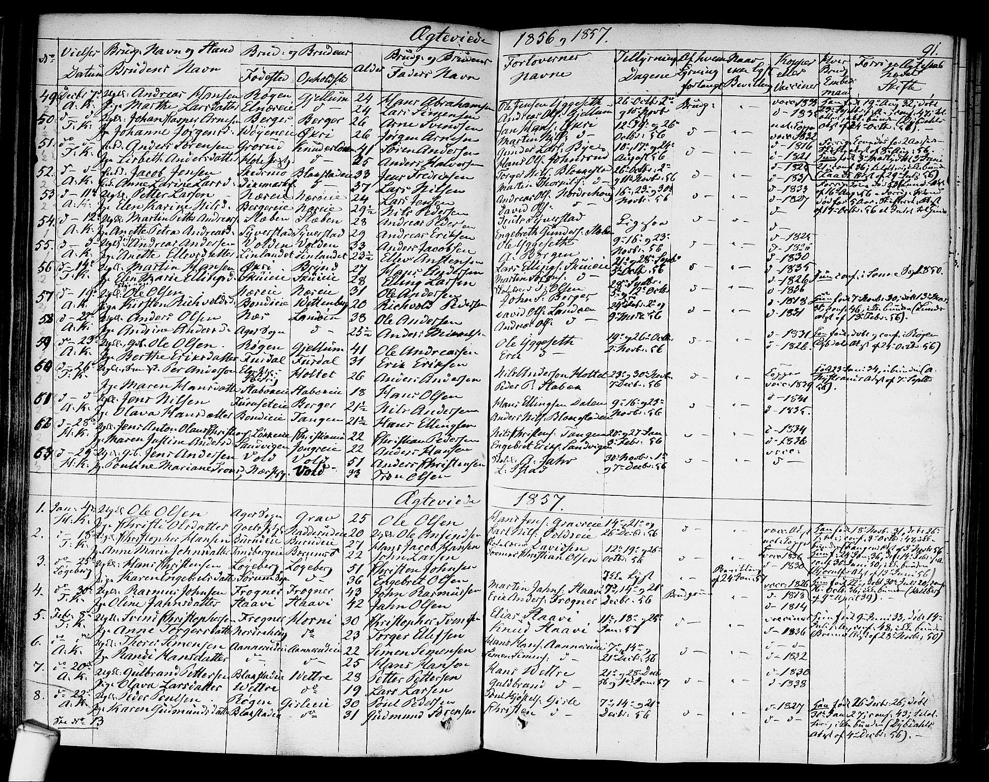 SAO, Asker prestekontor Kirkebøker, F/Fa/L0010: Ministerialbok nr. I 10, 1825-1878, s. 91