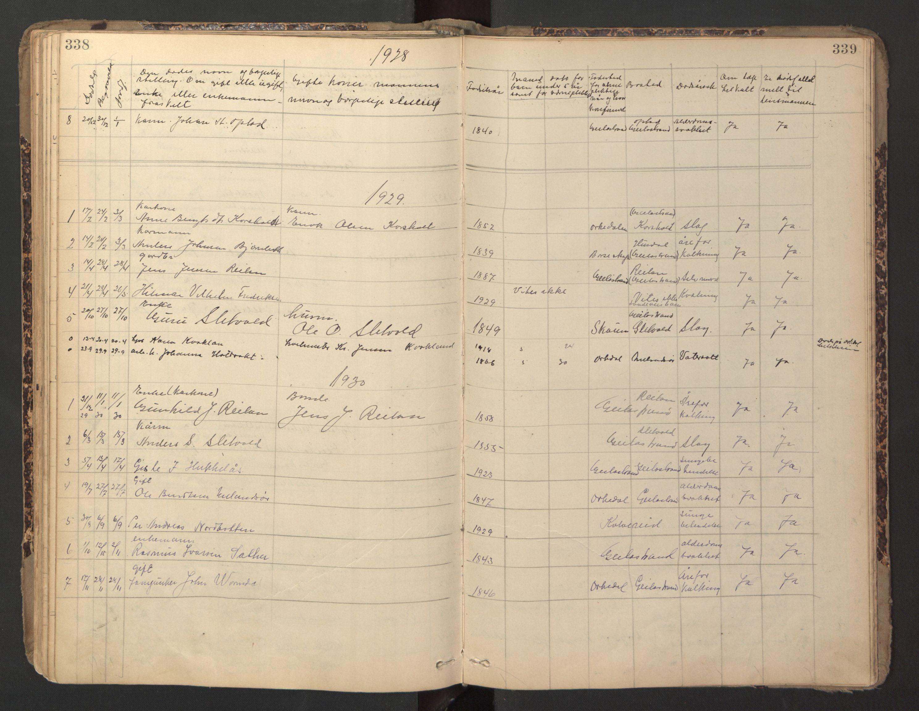 SAT, Ministerialprotokoller, klokkerbøker og fødselsregistre - Sør-Trøndelag, 670/L0837: Klokkerbok nr. 670C01, 1905-1946, s. 338-339
