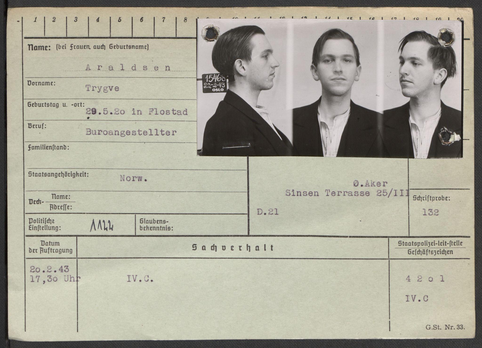 RA, Befehlshaber der Sicherheitspolizei und des SD, E/Ea/Eaa/L0001: Register over norske fanger i Møllergata 19: A-Bj, 1940-1945, s. 546