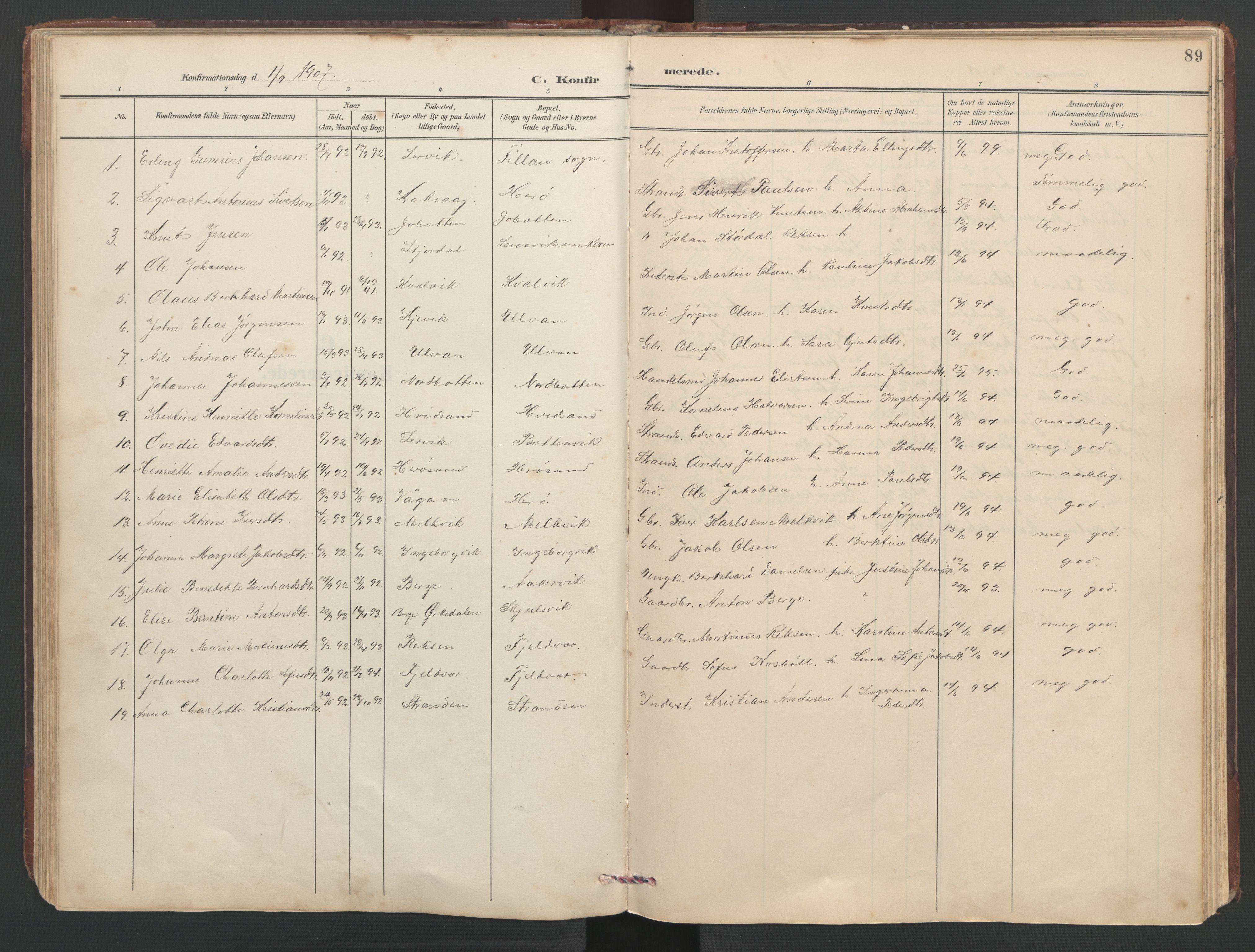 SAT, Ministerialprotokoller, klokkerbøker og fødselsregistre - Sør-Trøndelag, 638/L0571: Klokkerbok nr. 638C03, 1901-1930, s. 89