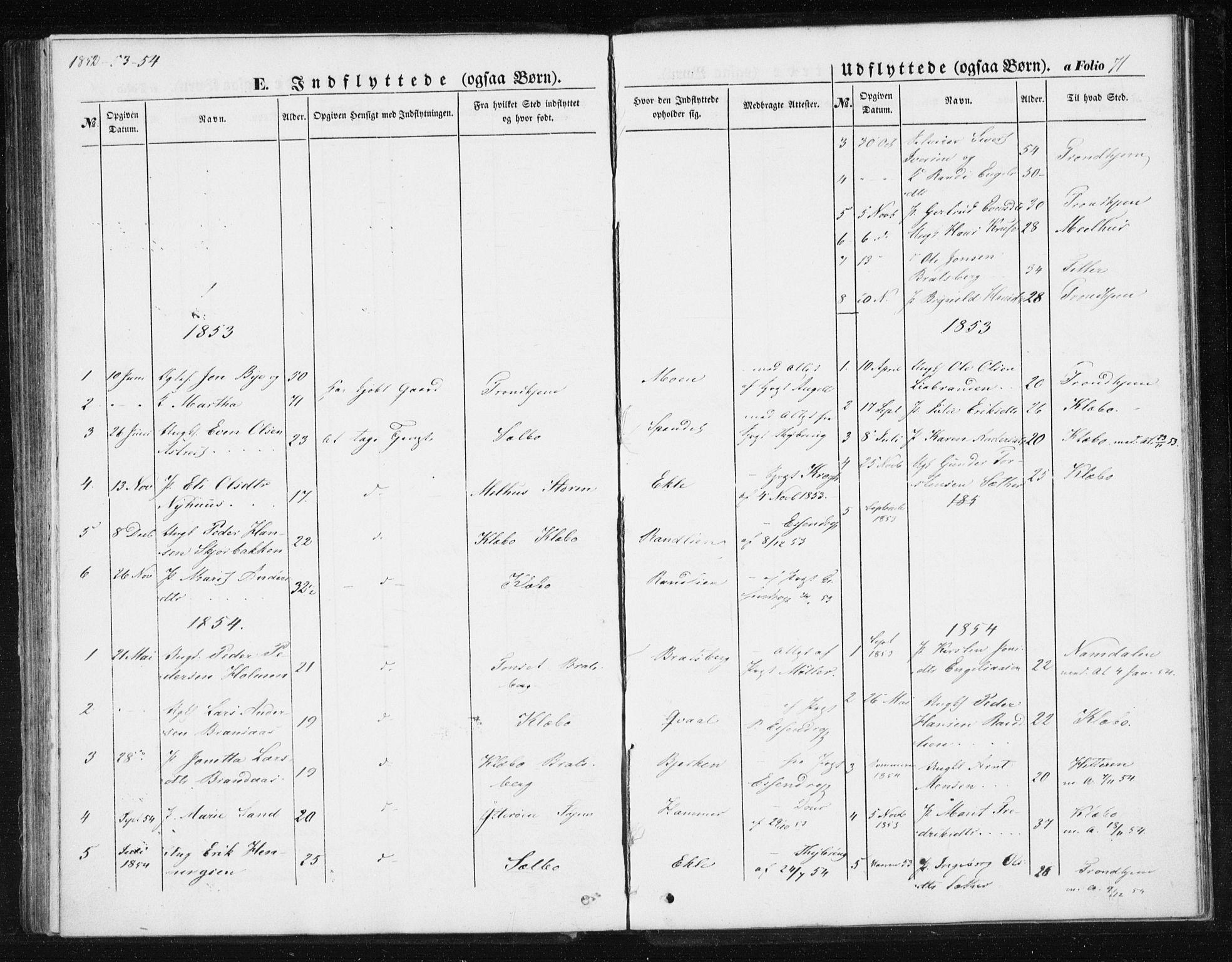 SAT, Ministerialprotokoller, klokkerbøker og fødselsregistre - Sør-Trøndelag, 608/L0332: Ministerialbok nr. 608A01, 1848-1861, s. 71