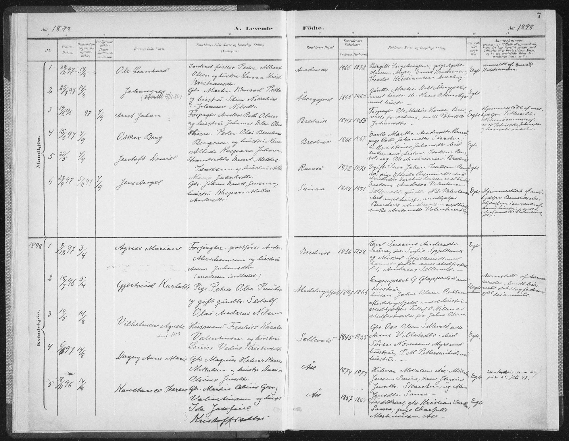 SAT, Ministerialprotokoller, klokkerbøker og fødselsregistre - Nordland, 897/L1400: Ministerialbok nr. 897A07, 1897-1908, s. 7