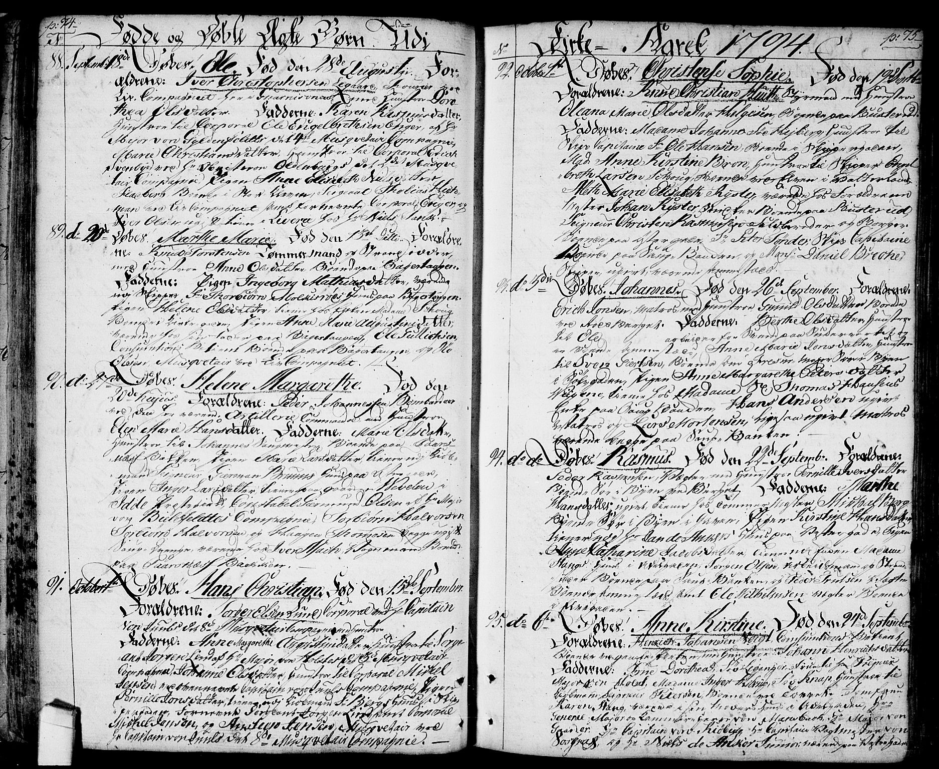 SAO, Halden prestekontor Kirkebøker, F/Fa/L0002: Ministerialbok nr. I 2, 1792-1812, s. 74-75
