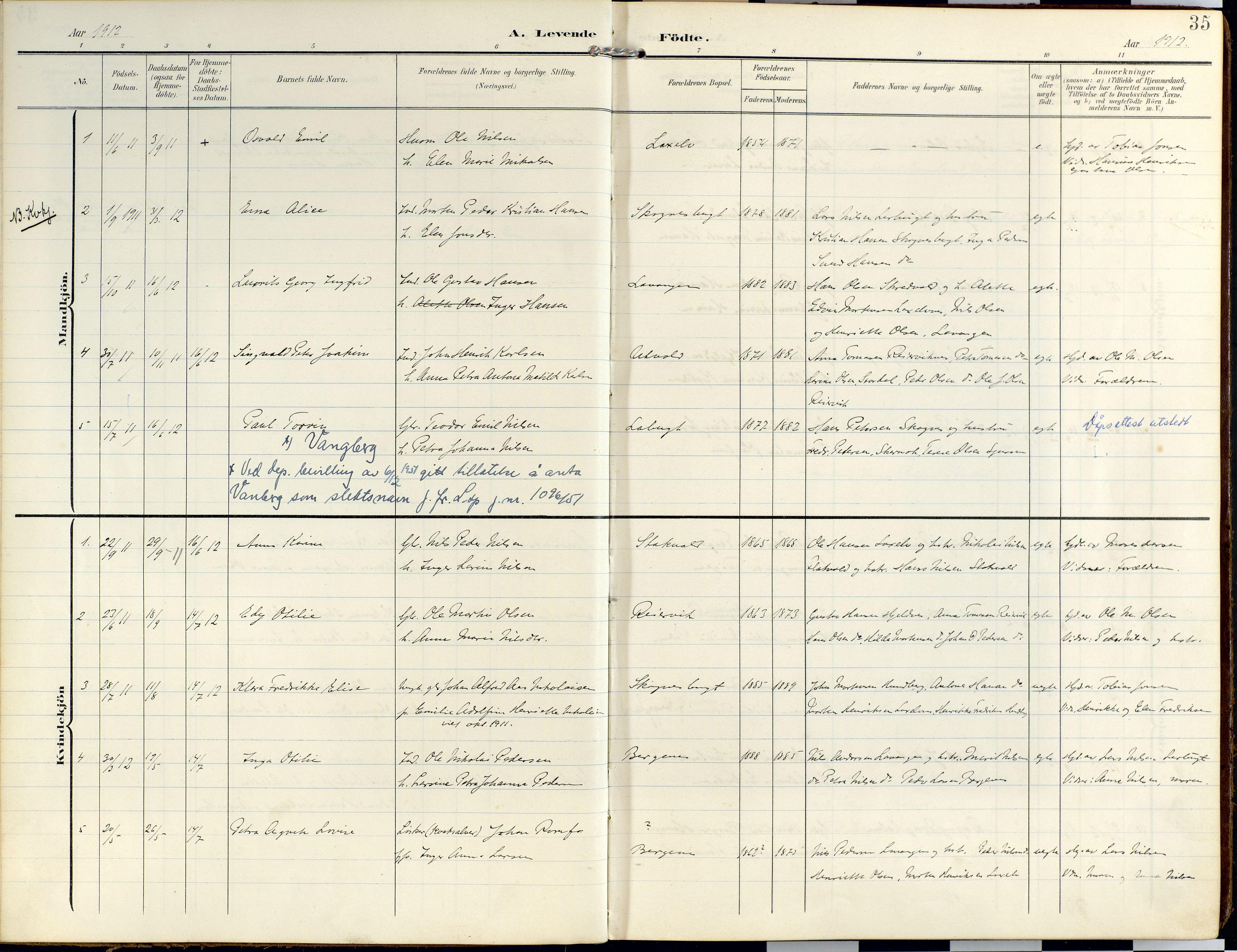 SATØ, Lyngen sokneprestembete, Ministerialbok nr. 14, 1905-1920, s. 35