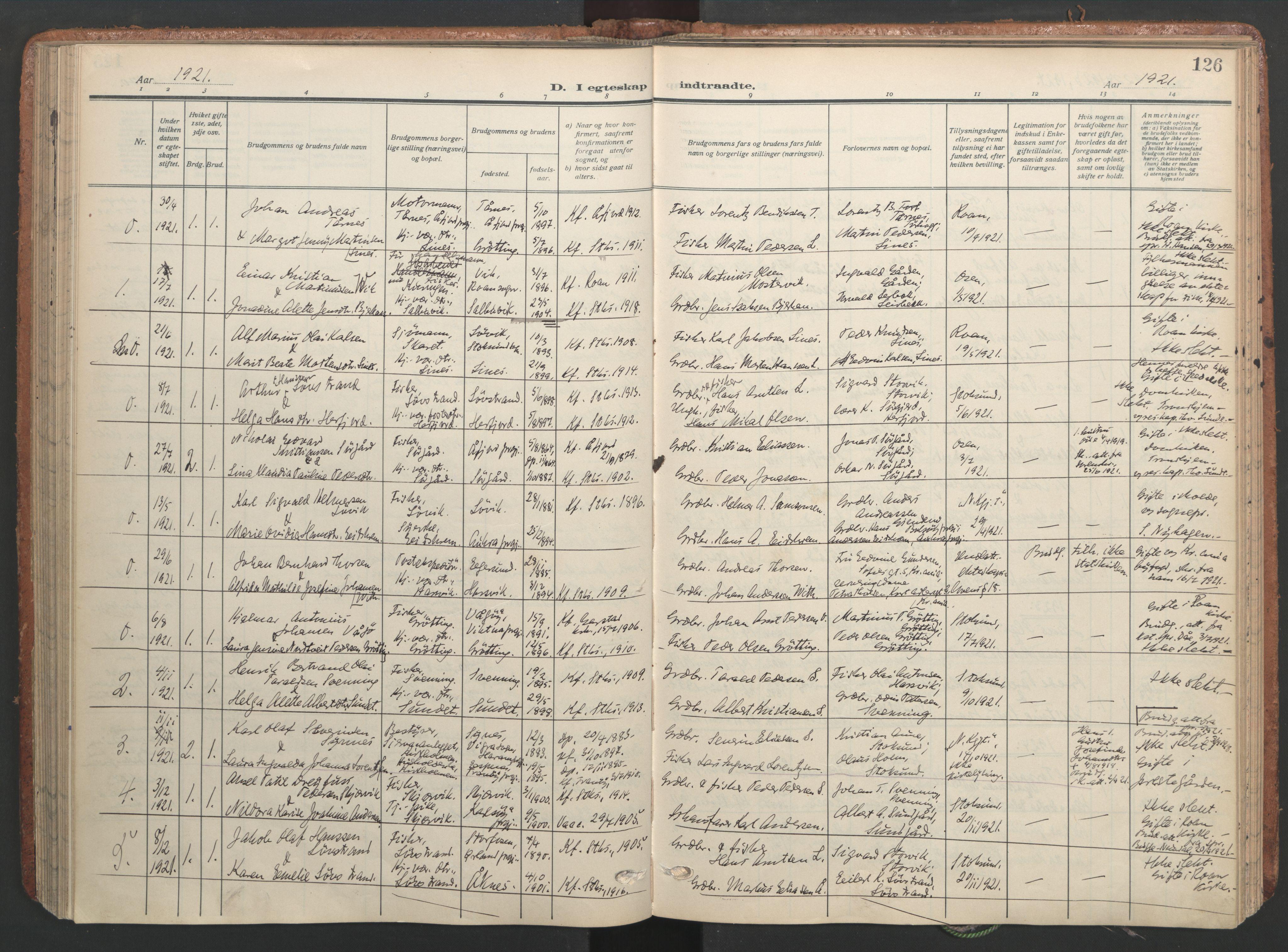 SAT, Ministerialprotokoller, klokkerbøker og fødselsregistre - Sør-Trøndelag, 656/L0694: Ministerialbok nr. 656A03, 1914-1931, s. 126