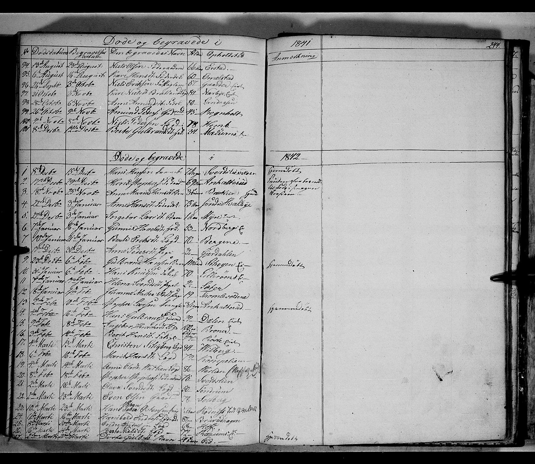 SAH, Land prestekontor, Klokkerbok nr. 2, 1833-1849, s. 244