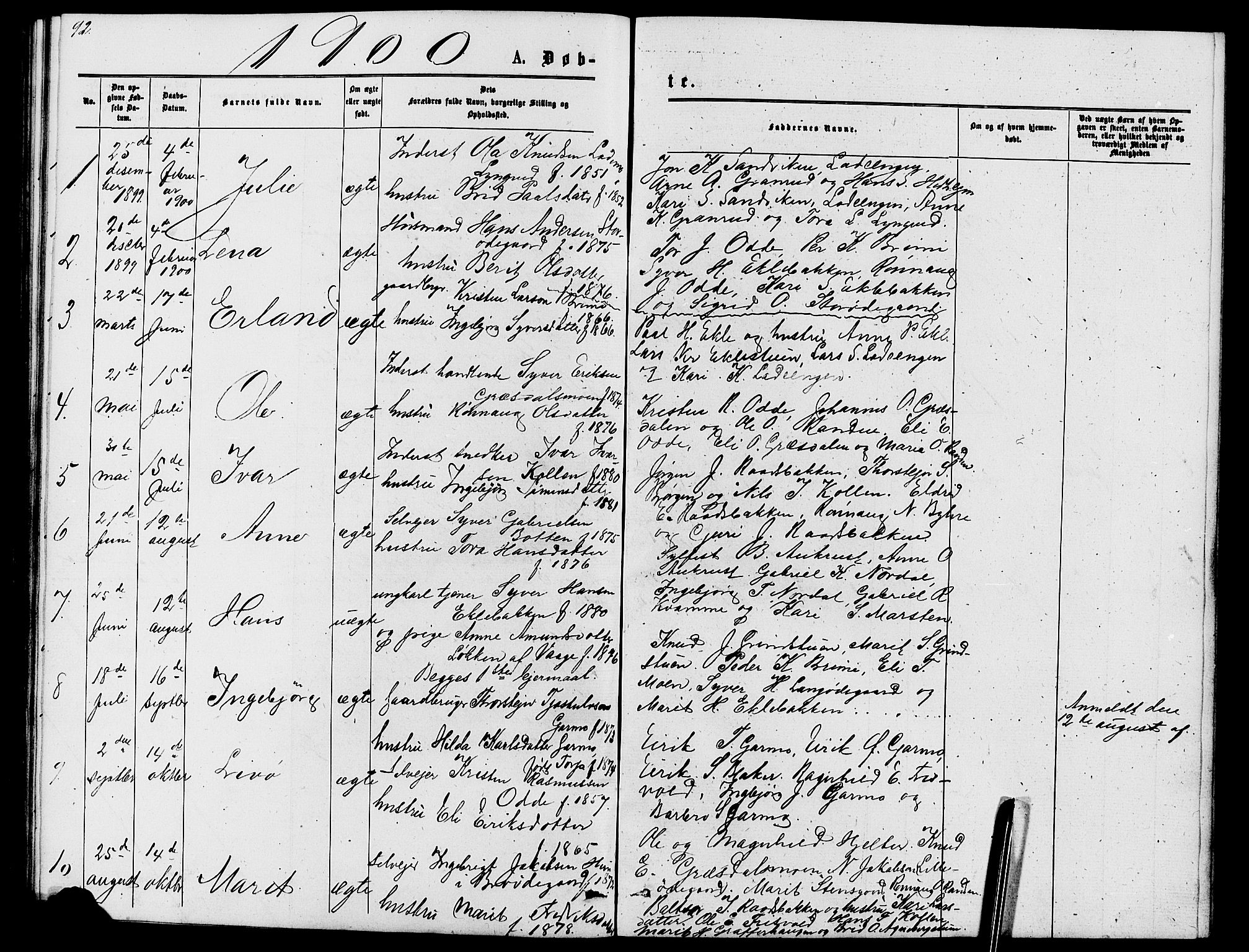 SAH, Lom prestekontor, L/L0005: Klokkerbok nr. 5, 1876-1901, s. 92-93