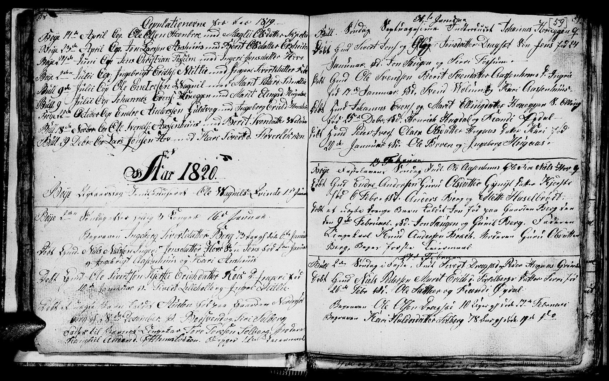 SAT, Ministerialprotokoller, klokkerbøker og fødselsregistre - Sør-Trøndelag, 689/L1042: Klokkerbok nr. 689C01, 1812-1841, s. 58-59