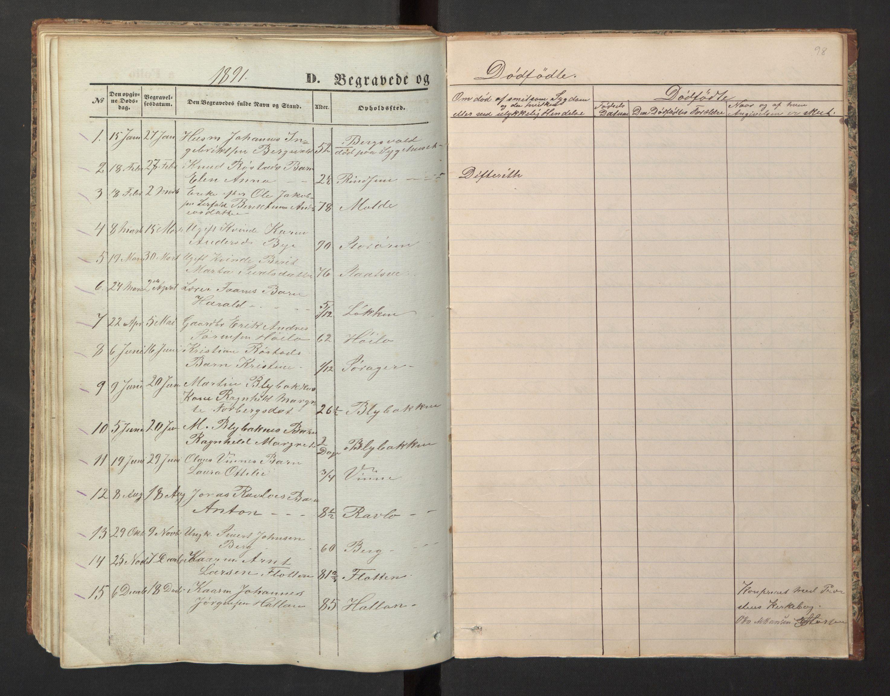 SAT, Ministerialprotokoller, klokkerbøker og fødselsregistre - Nord-Trøndelag, 726/L0271: Klokkerbok nr. 726C02, 1869-1897, s. 98