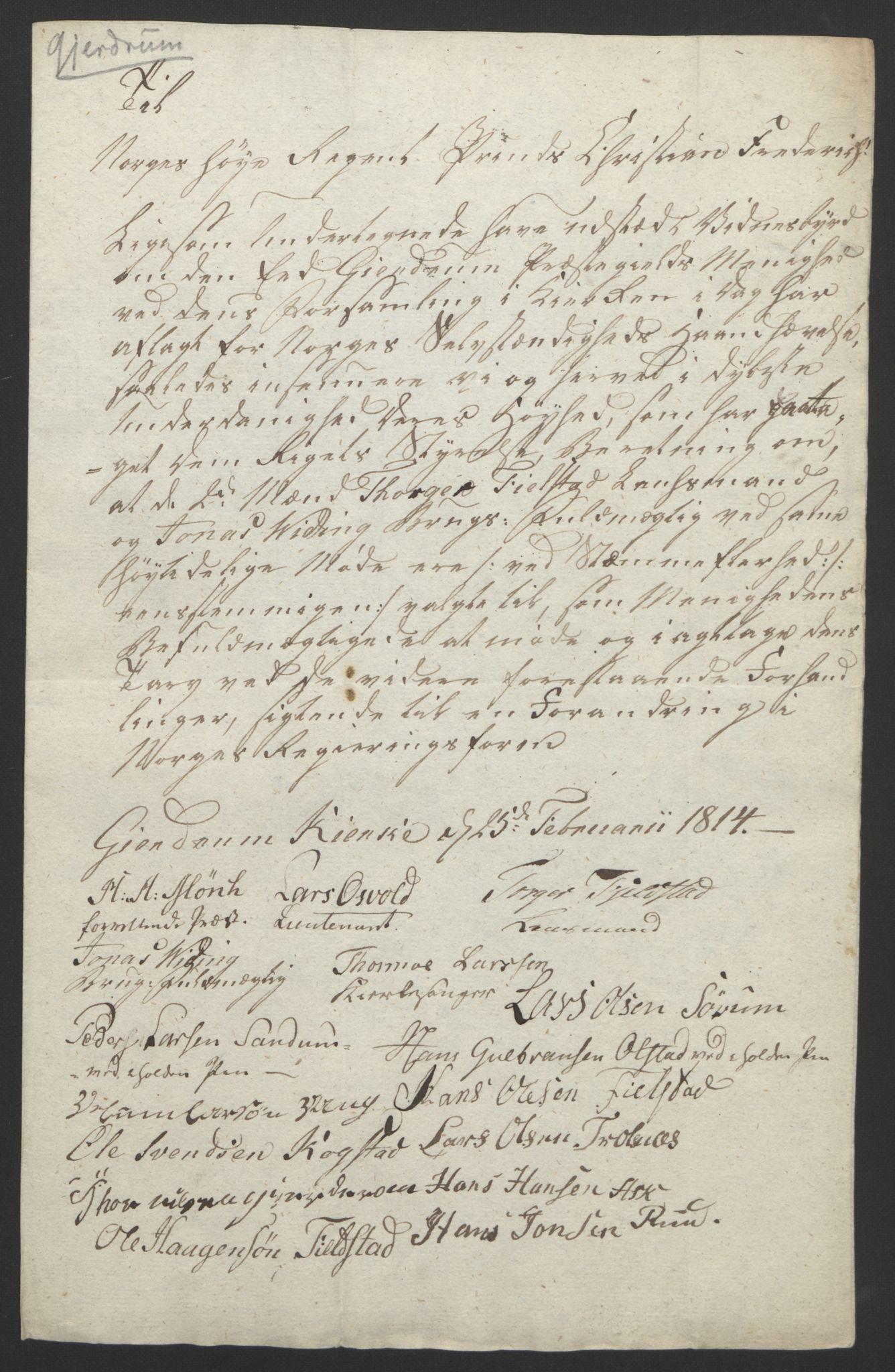 RA, Statsrådssekretariatet, D/Db/L0007: Fullmakter for Eidsvollsrepresentantene i 1814. , 1814, s. 185