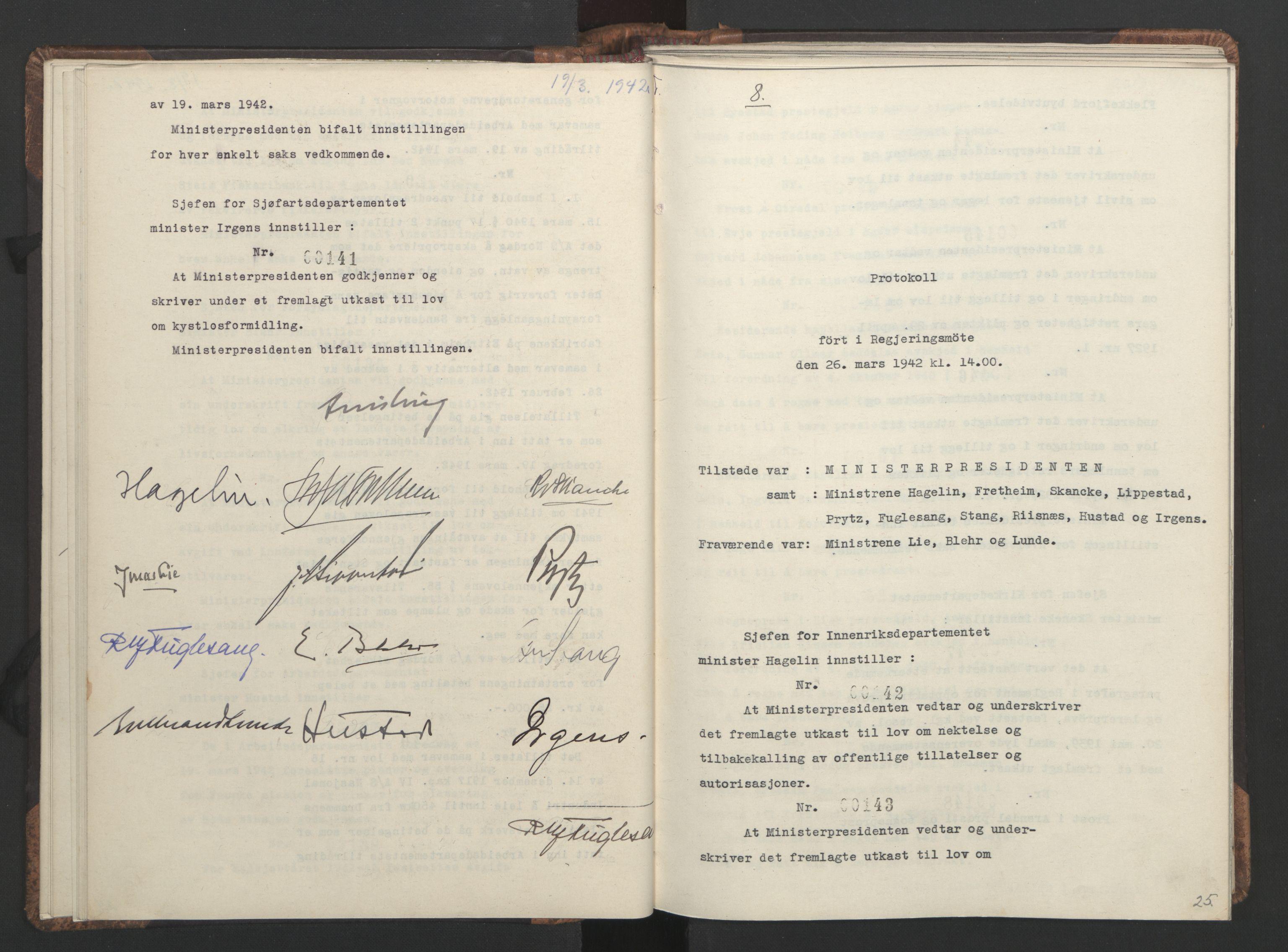 RA, NS-administrasjonen 1940-1945 (Statsrådsekretariatet, de kommisariske statsråder mm), D/Da/L0001: Beslutninger og tillegg (1-952 og 1-32), 1942, s. 24b-25a