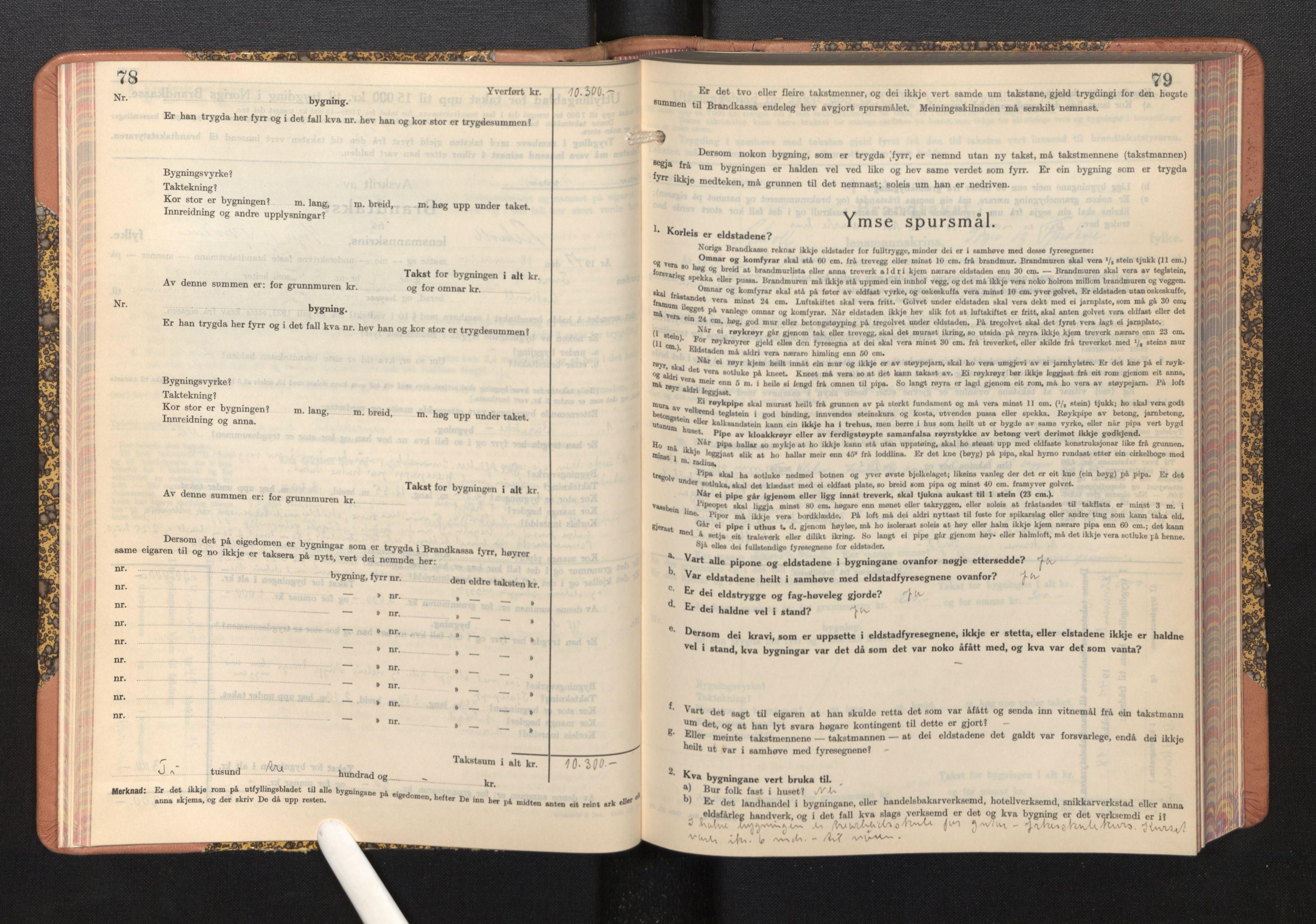 SAB, Lensmannen i Askvoll, 0012/L0005: Branntakstprotokoll, skjematakst, 1940-1949, s. 78-79