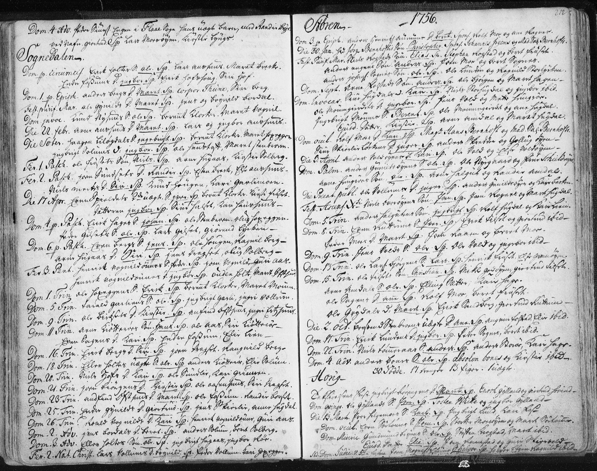 SAT, Ministerialprotokoller, klokkerbøker og fødselsregistre - Sør-Trøndelag, 687/L0991: Ministerialbok nr. 687A02, 1747-1790, s. 212