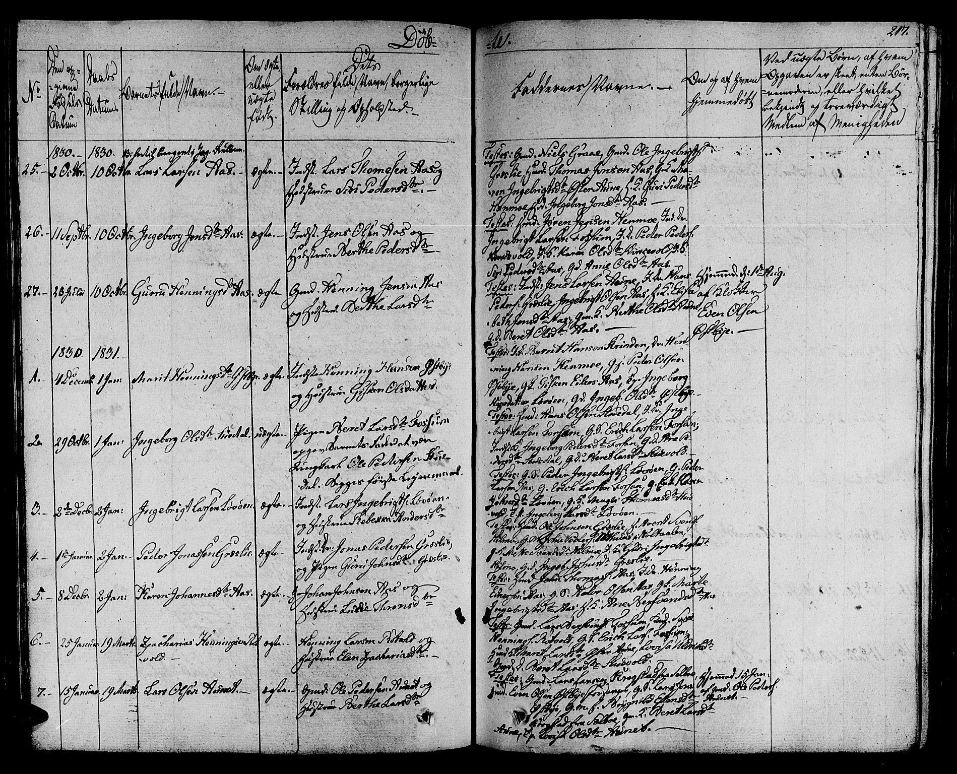 SAT, Ministerialprotokoller, klokkerbøker og fødselsregistre - Sør-Trøndelag, 695/L1144: Ministerialbok nr. 695A05 /2, 1824-1842, s. 217