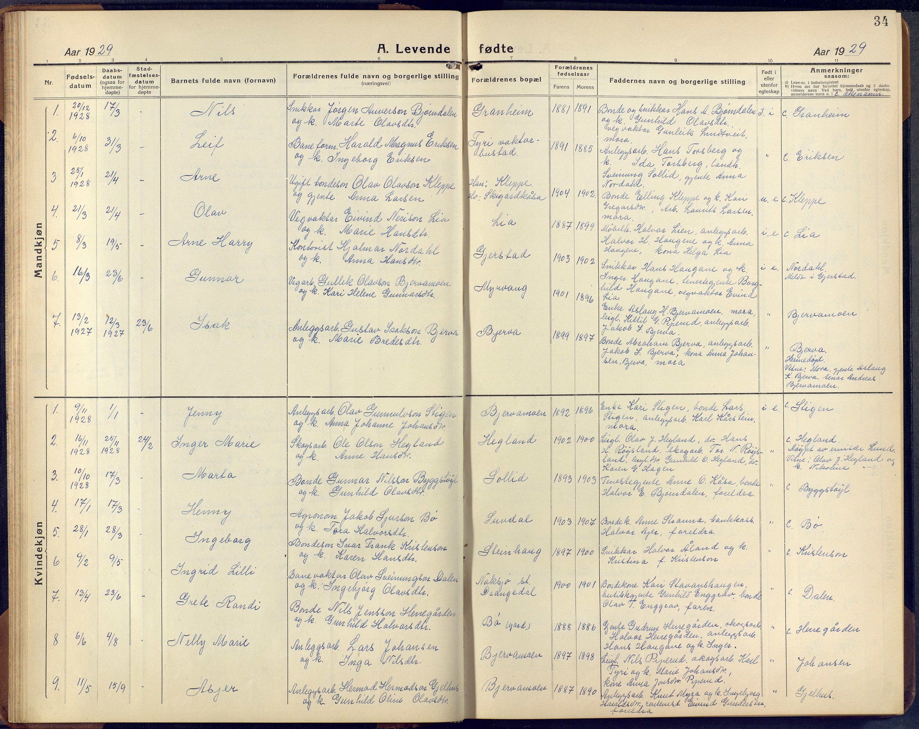 SAKO, Lunde kirkebøker, F/Fa/L0006: Ministerialbok nr. I 6, 1922-1940, s. 34
