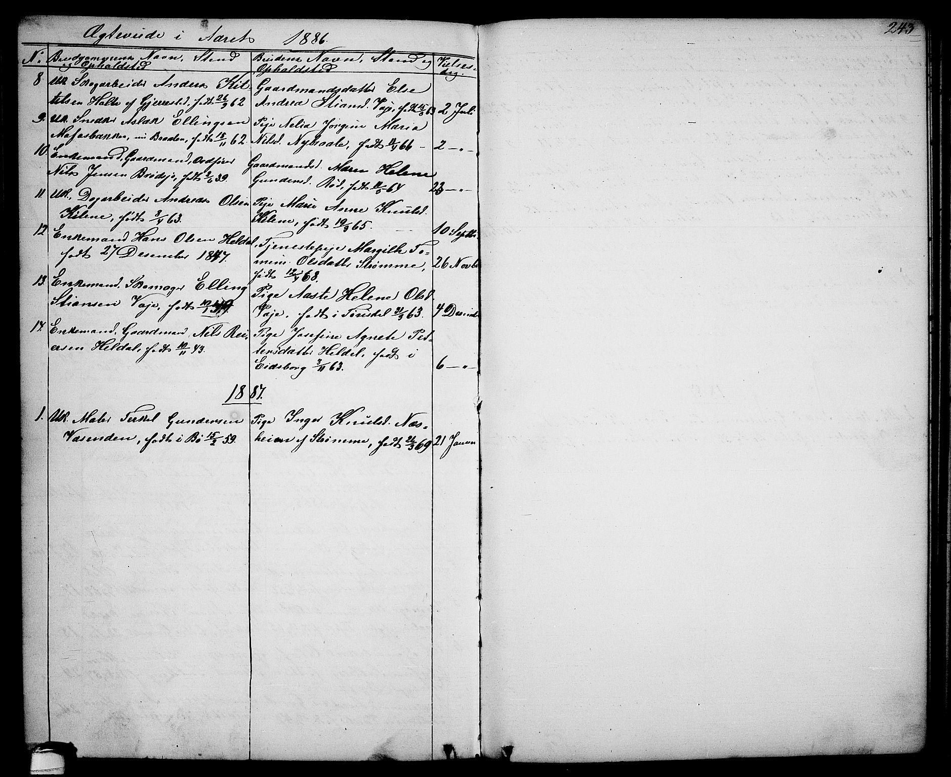 SAKO, Drangedal kirkebøker, G/Ga/L0002: Klokkerbok nr. I 2, 1856-1887, s. 243