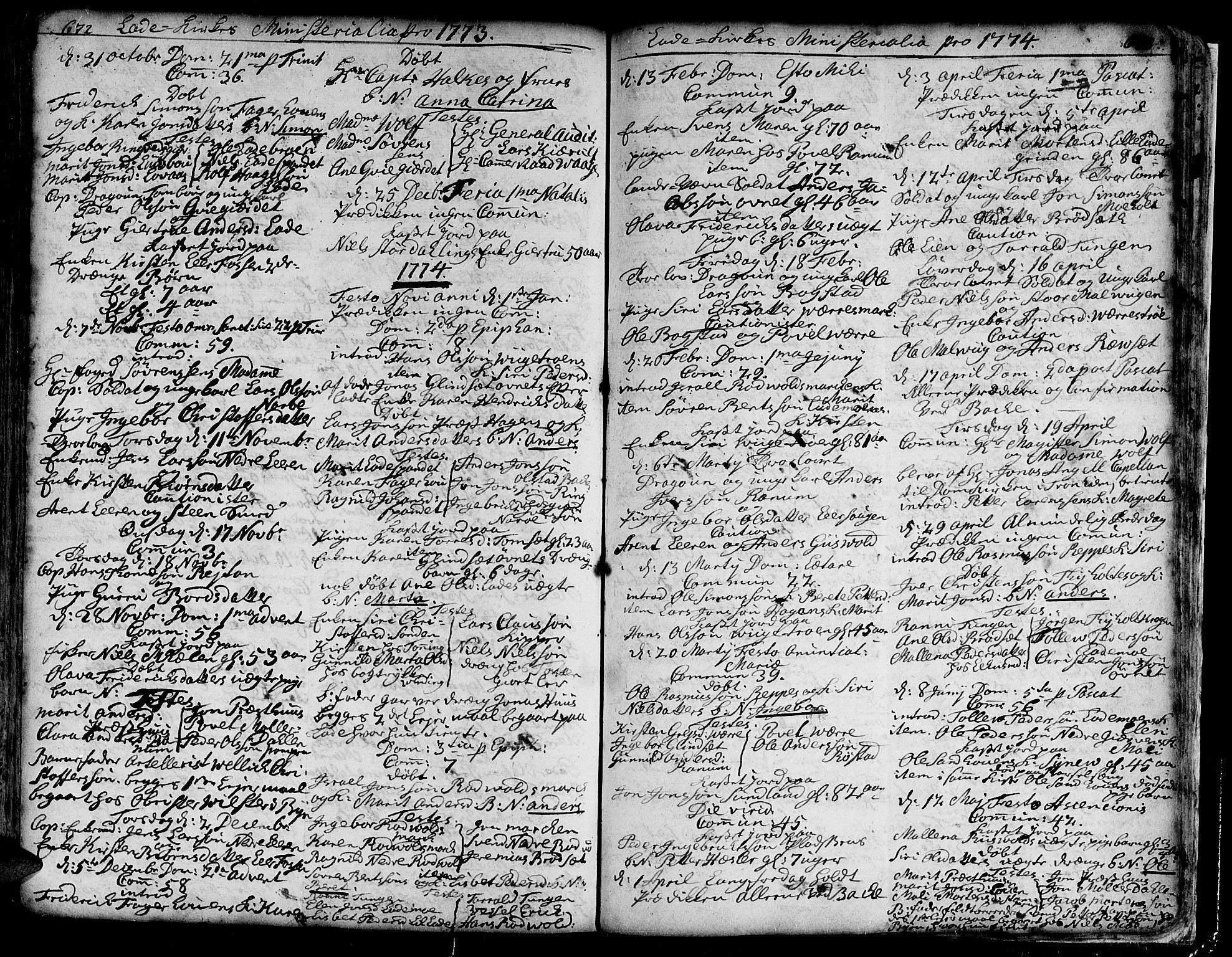 SAT, Ministerialprotokoller, klokkerbøker og fødselsregistre - Sør-Trøndelag, 606/L0275: Ministerialbok nr. 606A01 /1, 1727-1780, s. 672-673