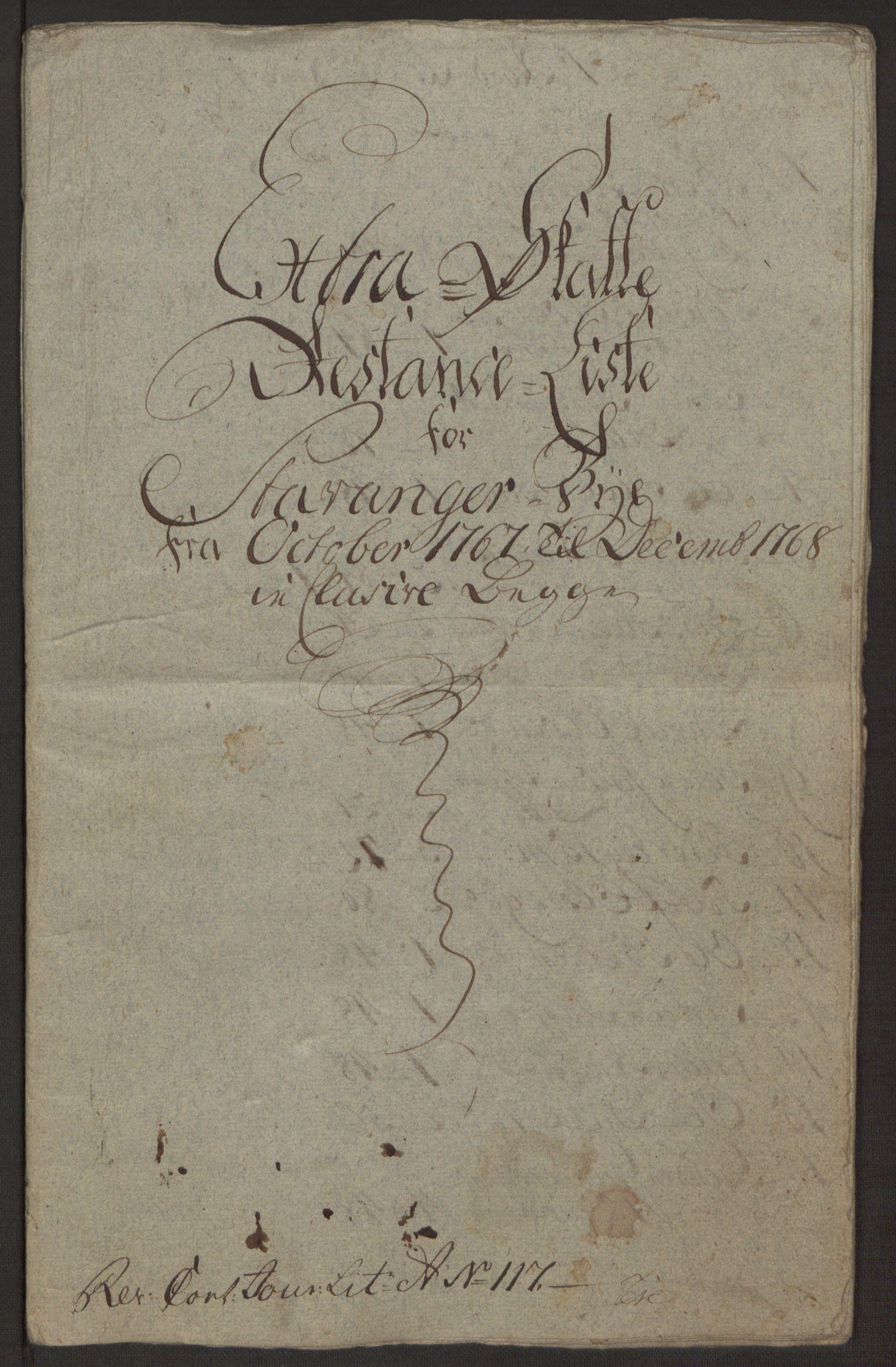 RA, Rentekammeret inntil 1814, Reviderte regnskaper, Byregnskaper, R/Ro/L0305: [O6] Kontribusjonsregnskap, 1762-1768, s. 393