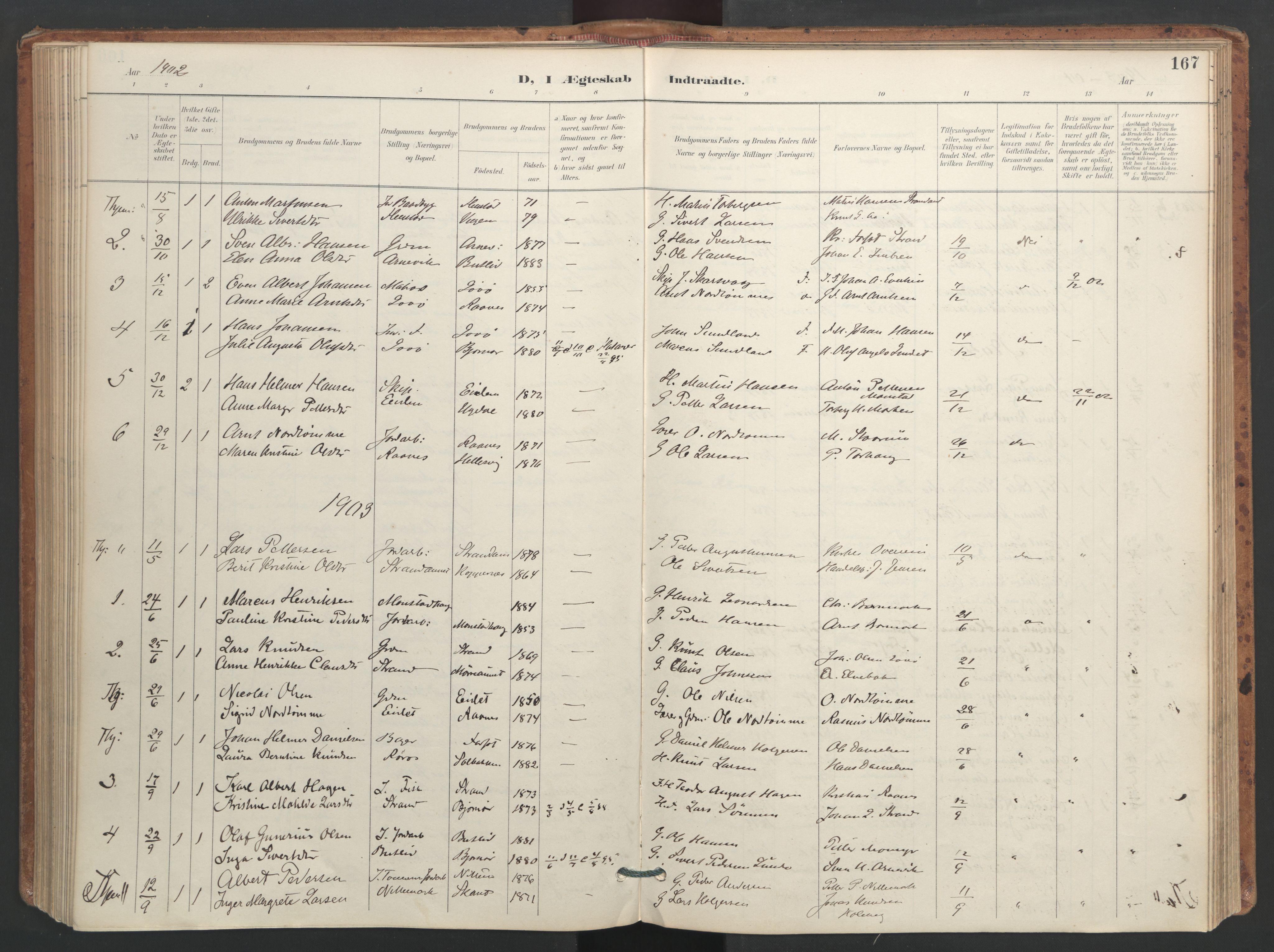 SAT, Ministerialprotokoller, klokkerbøker og fødselsregistre - Sør-Trøndelag, 655/L0681: Ministerialbok nr. 655A10, 1895-1907, s. 167