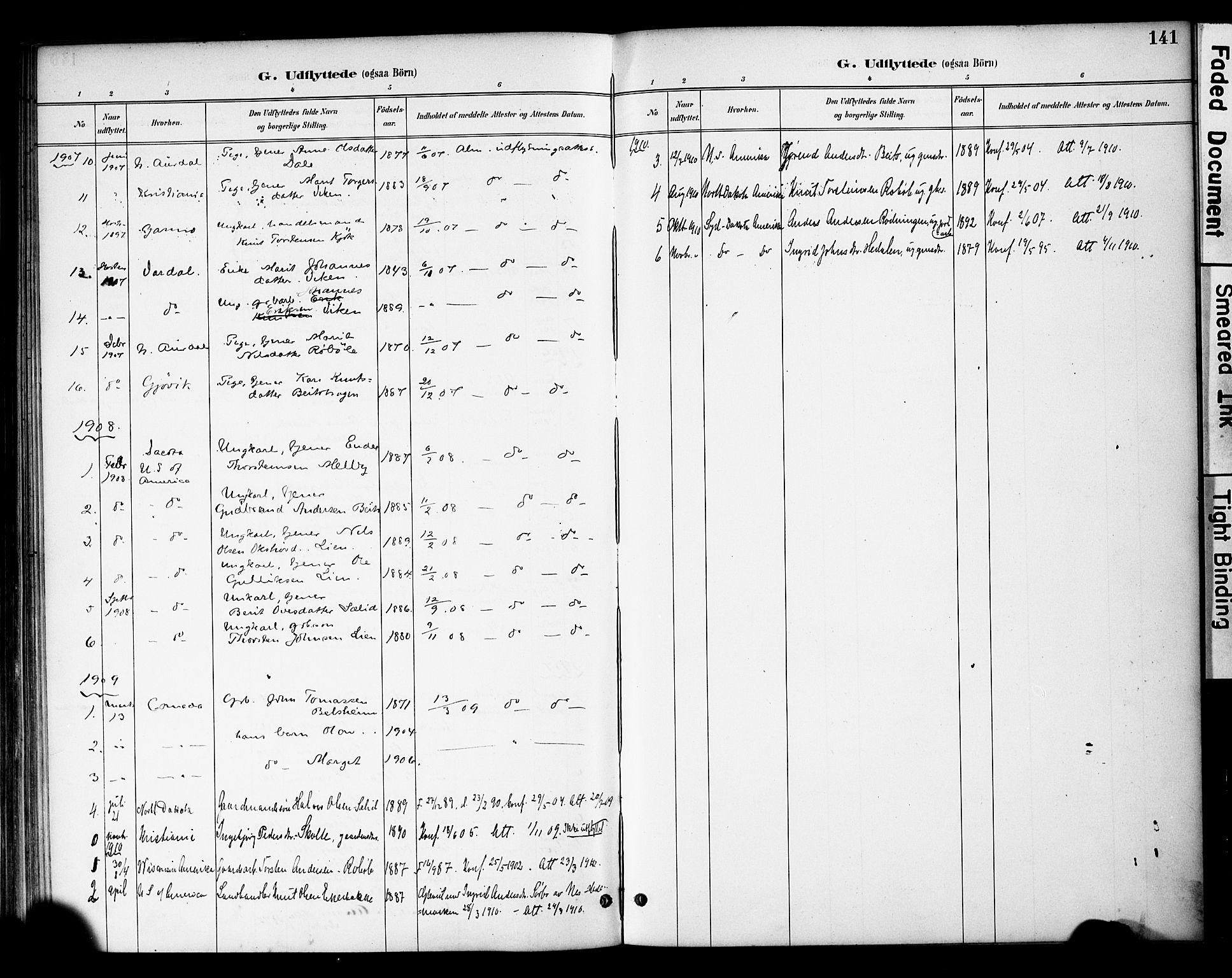 SAH, Øystre Slidre prestekontor, Ministerialbok nr. 4, 1887-1910, s. 141