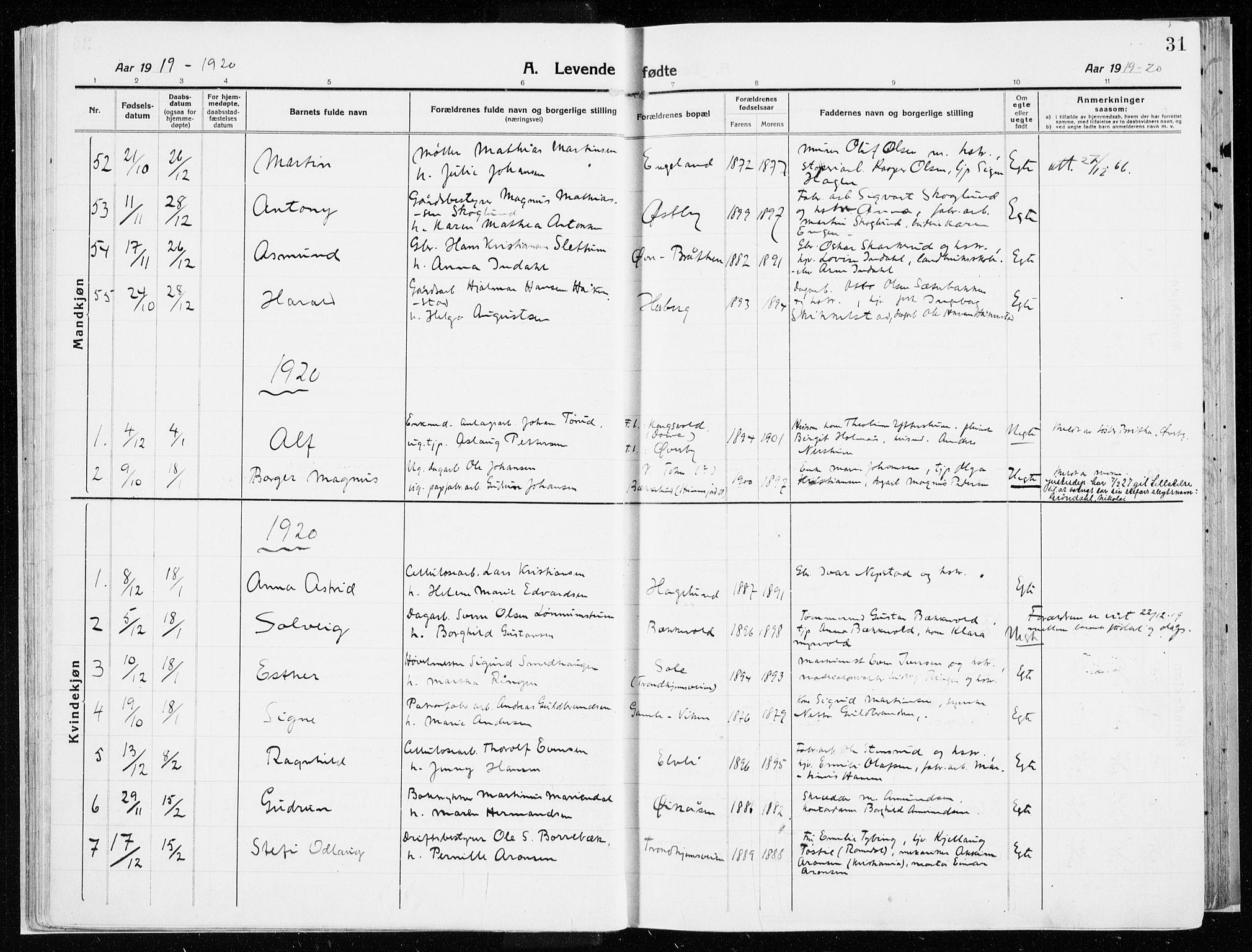 SAH, Vardal prestekontor, H/Ha/Haa/L0017: Ministerialbok nr. 17, 1915-1929, s. 31