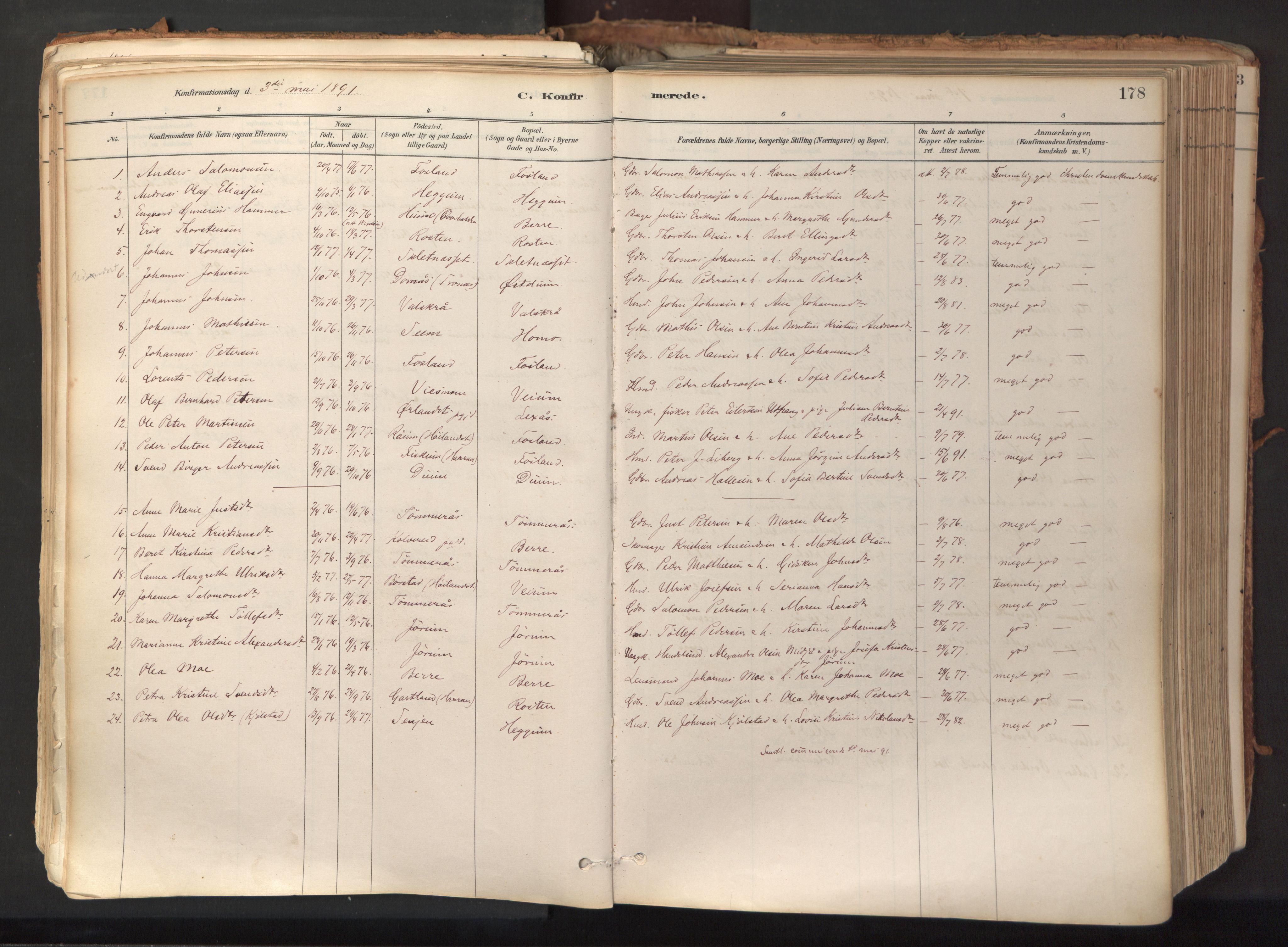 SAT, Ministerialprotokoller, klokkerbøker og fødselsregistre - Nord-Trøndelag, 758/L0519: Ministerialbok nr. 758A04, 1880-1926, s. 178