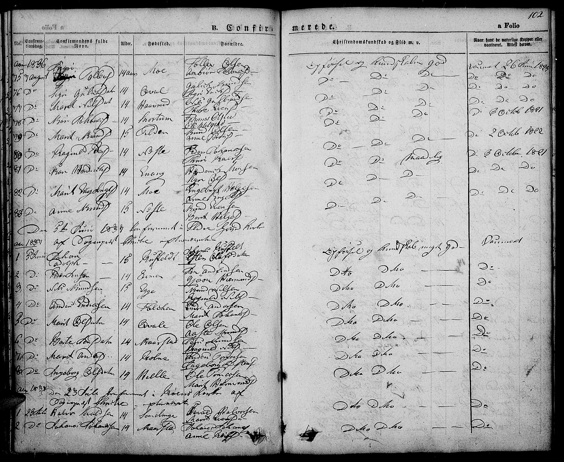 SAH, Slidre prestekontor, Ministerialbok nr. 3, 1831-1843, s. 102